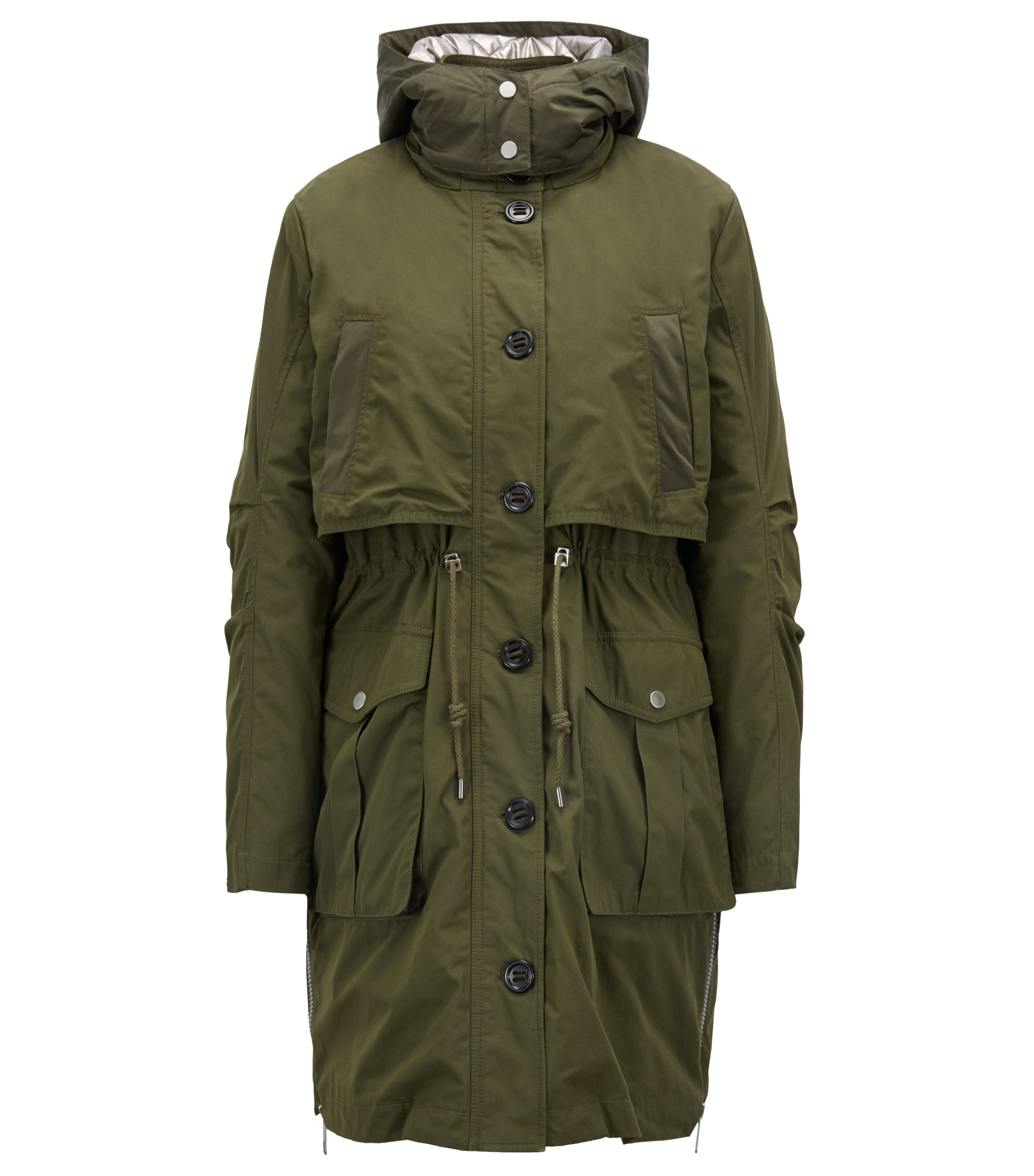 Two-in-one cotton parka with detachable metallic lining, Khaki