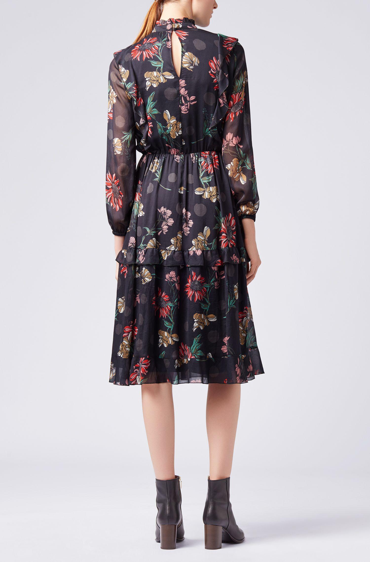 Chiffon-Kleid mit langen Ärmeln und Winterblumen-Print, Gemustert