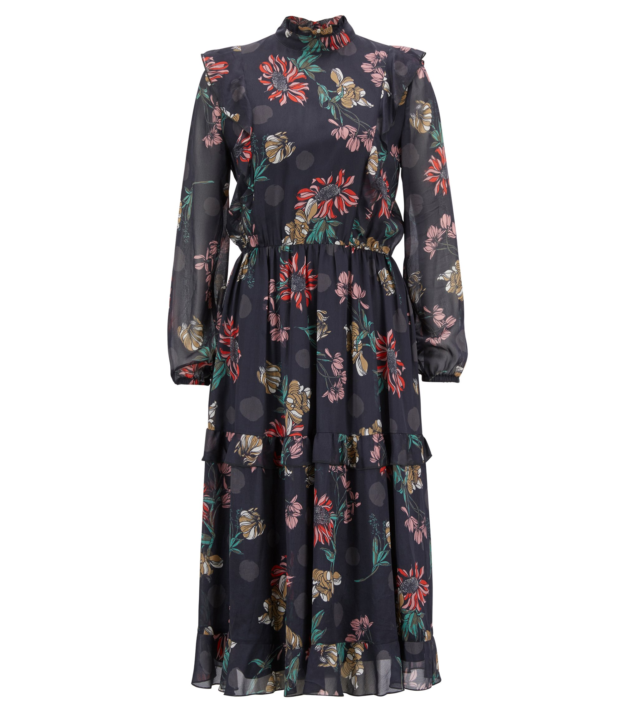 Long-sleeved dress in chiffon with winter-flowers print, Patterned