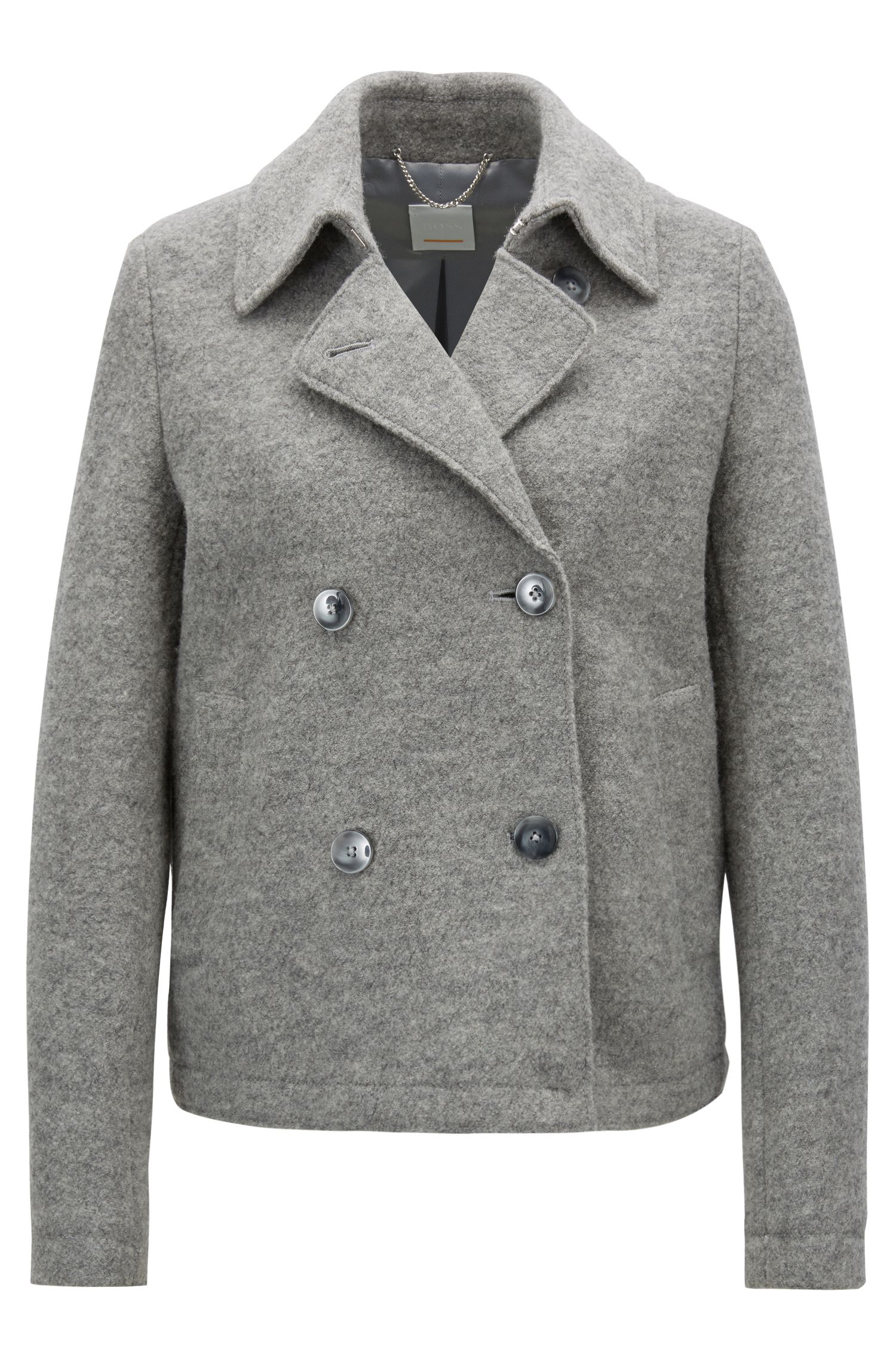 Caban-style coat in virgin wool with detachable belt, Silver