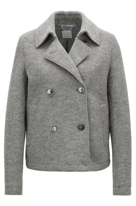 06978011fc Caban-style coat in virgin wool with detachable belt, Silver