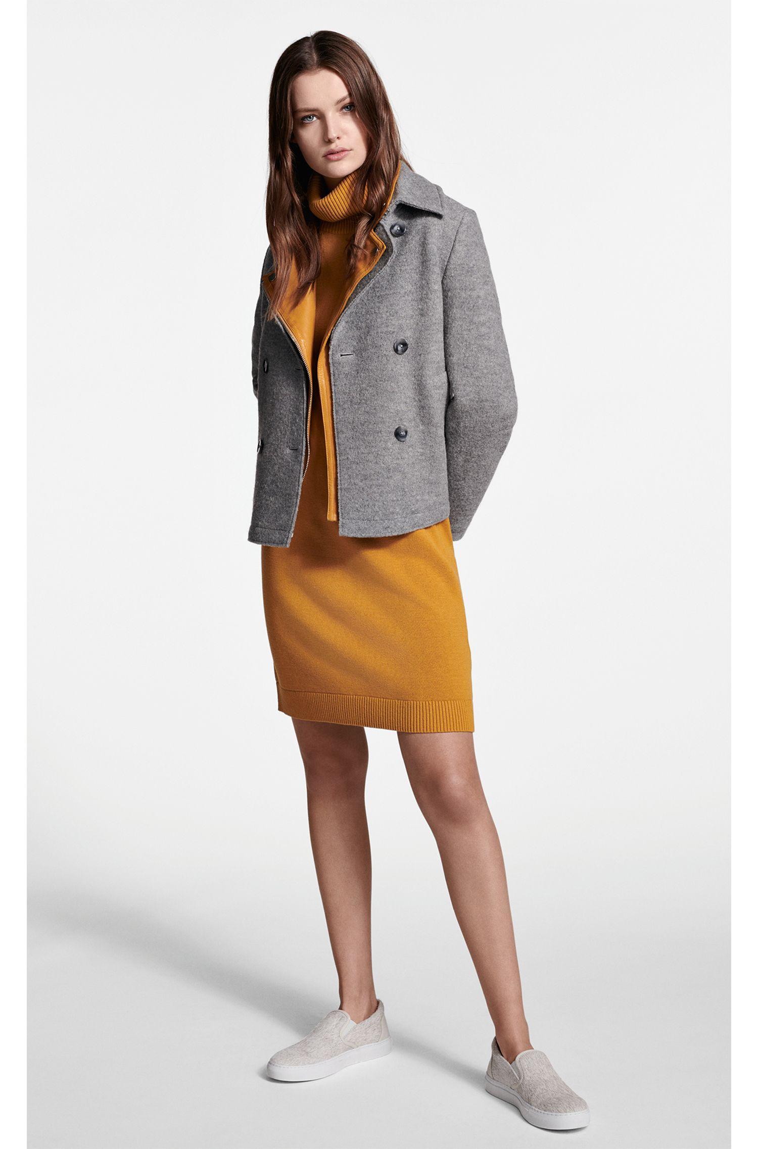 Manteau de style caban en laine vierge, avec martingale amovible, Argent