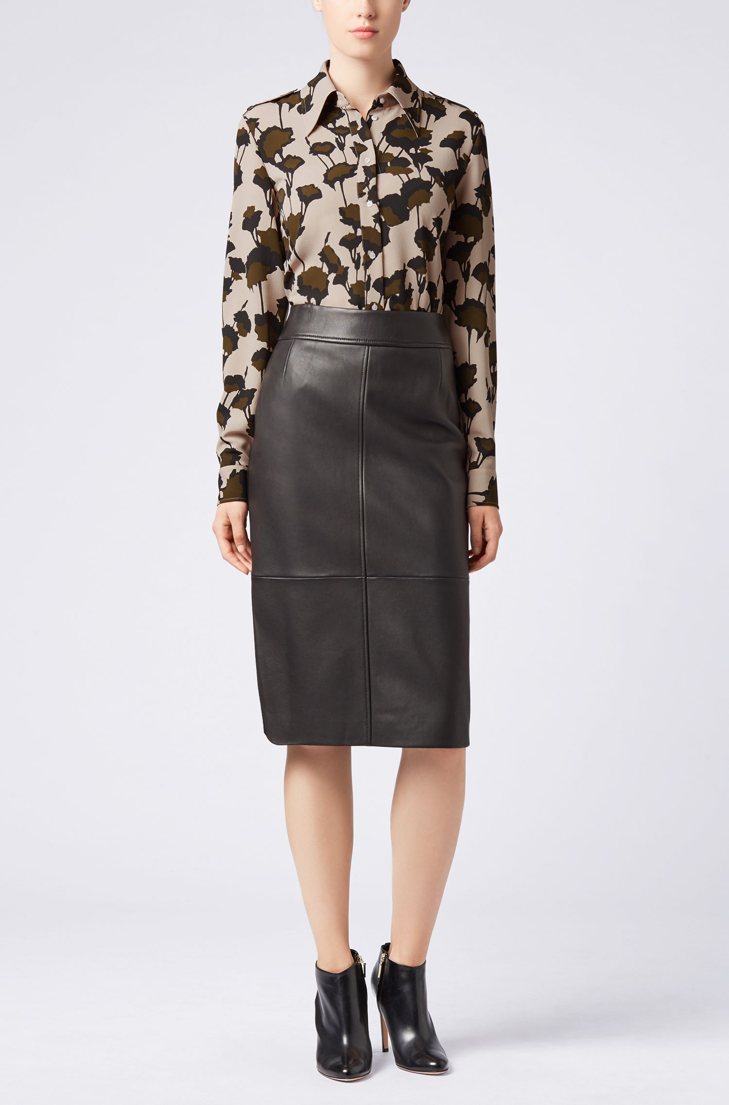Utility-style blouse in Italian-made floral-print crepe