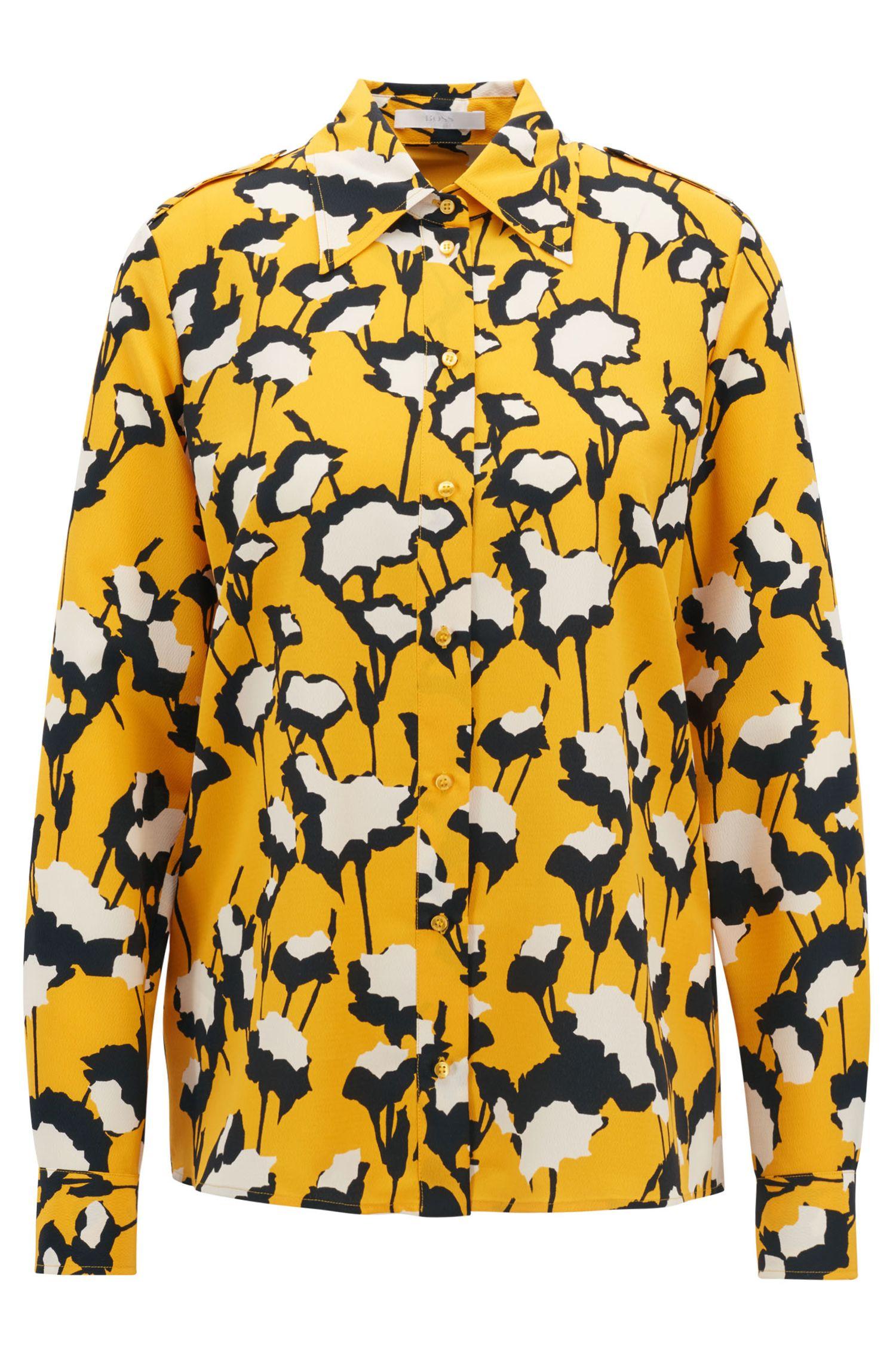 Blouse in workwearstijl, in crêpe van Italiaanse makelij met bloemenprint, Bedrukt