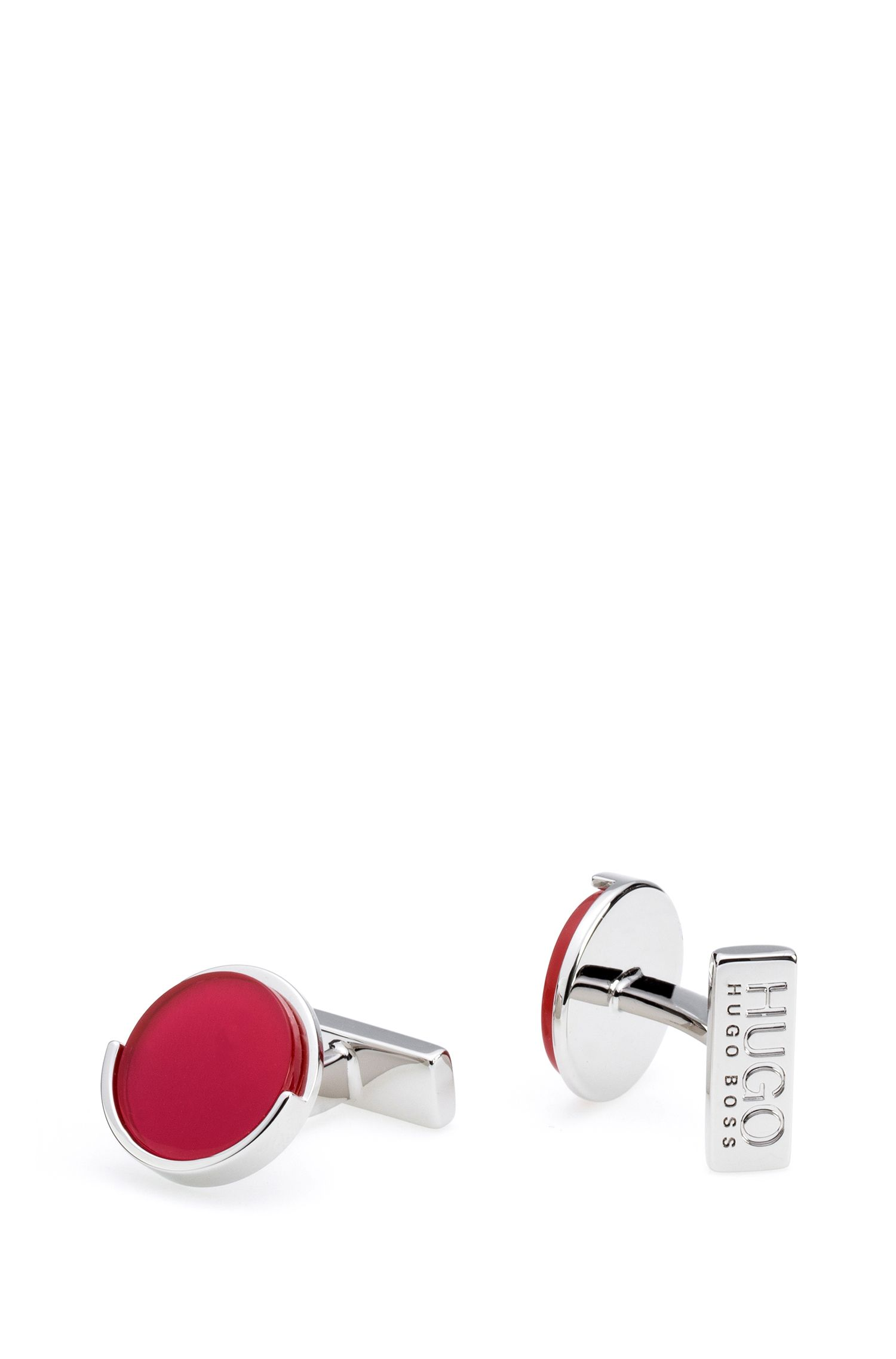 Round polished cufflinks with coloured enamel disc, Red