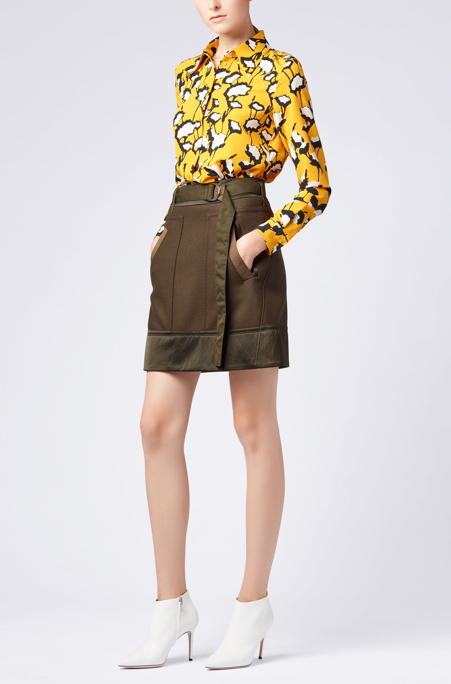 Military-inspired A-line miniskirt in an Italian wool blend
