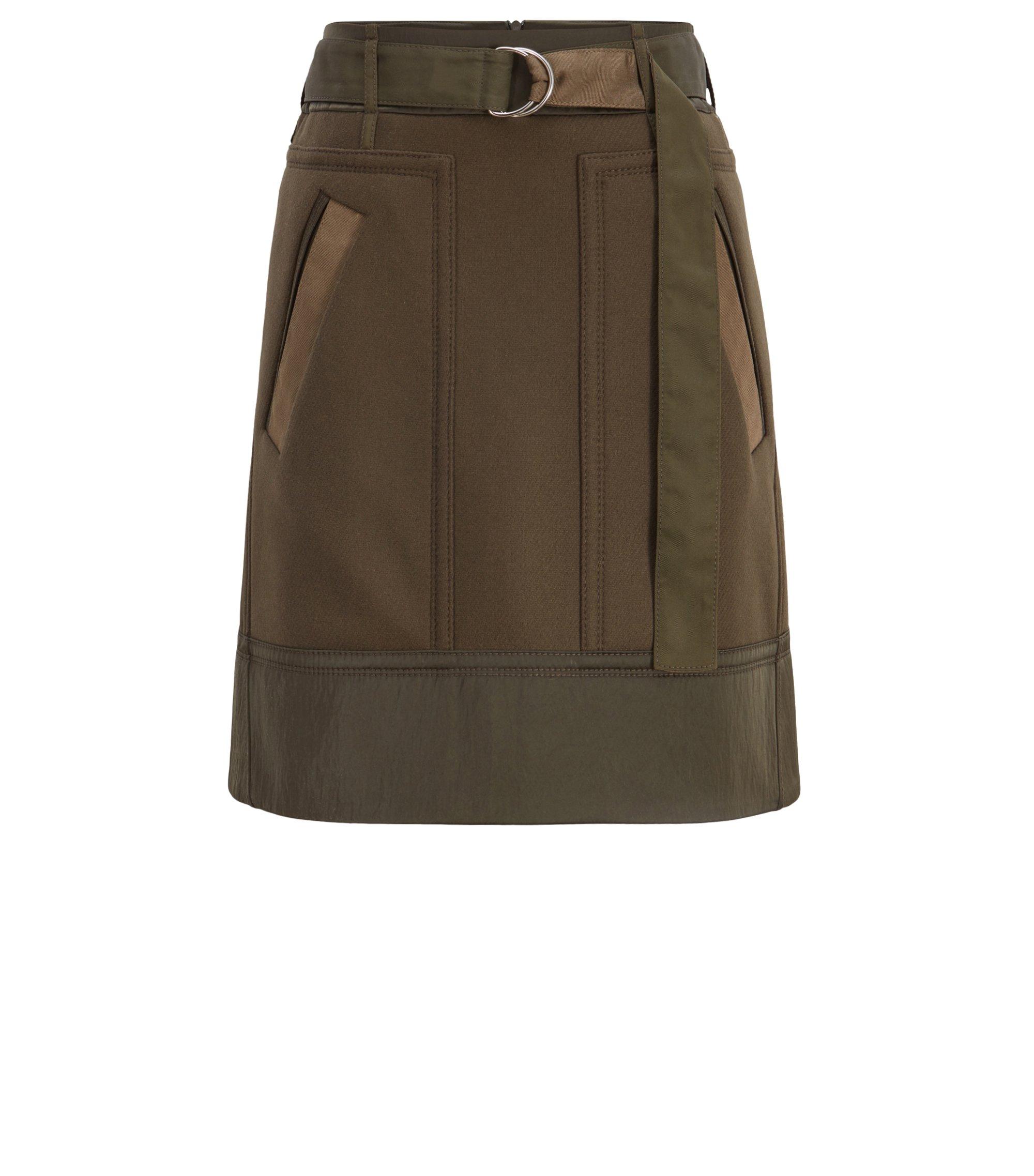 Minigonna dalla linea svasata d'ispirazione militare in misto lana realizzato in Italia, Verde scuro