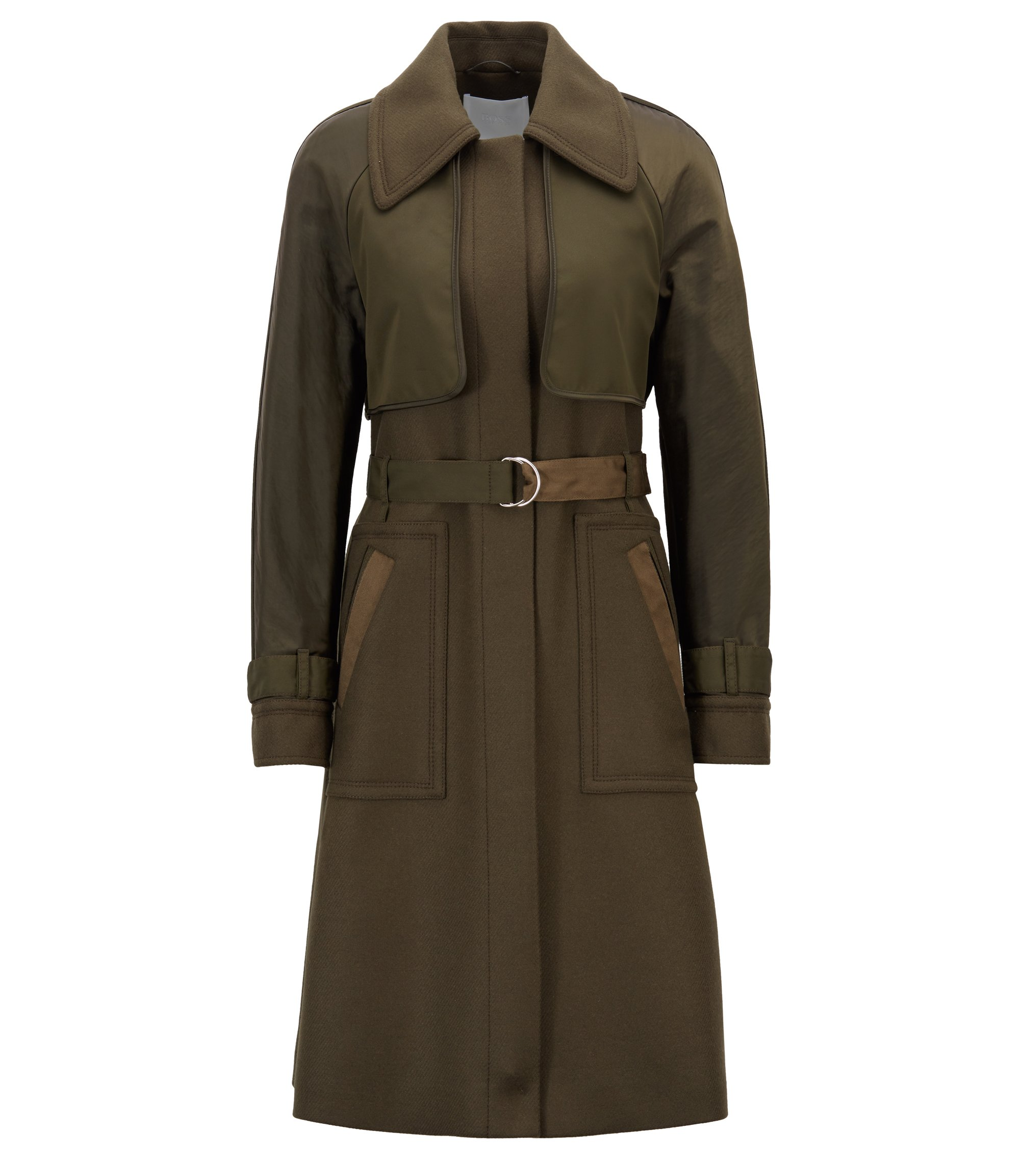 Trench coat in twill with contrast fabric detail, Dark Green