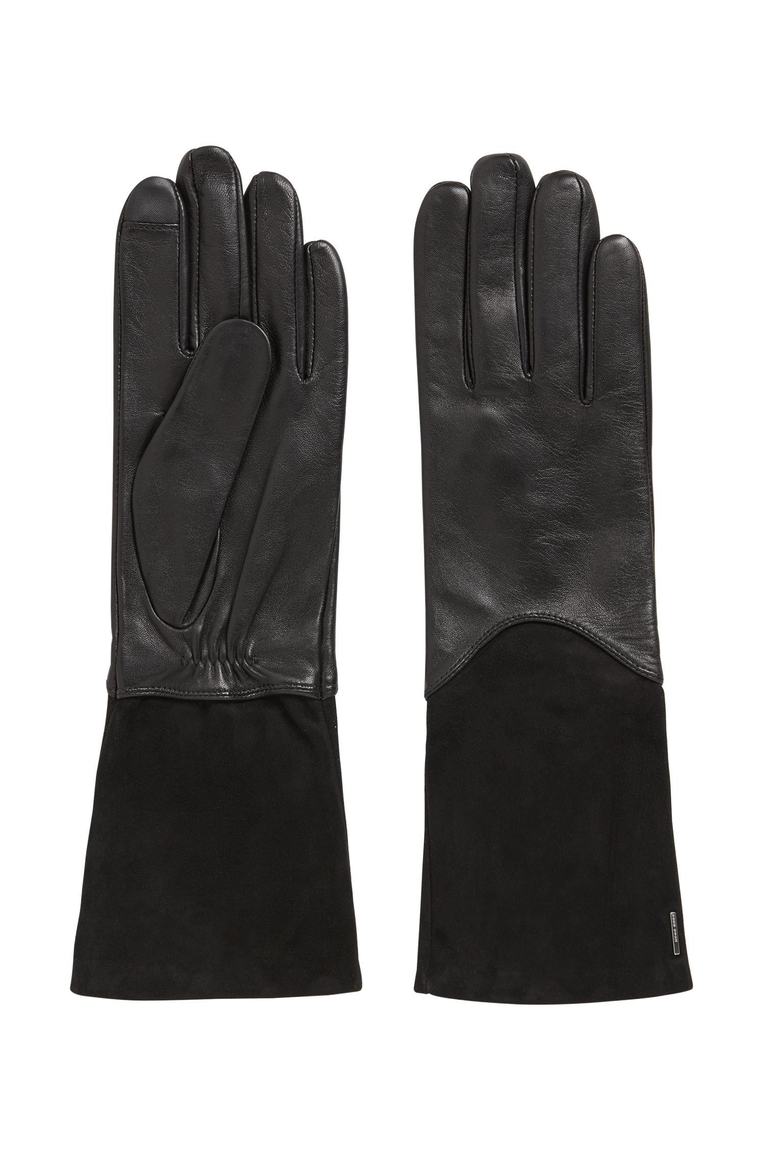 Longer-length lambskin gloves with Touch Tech tips, Black