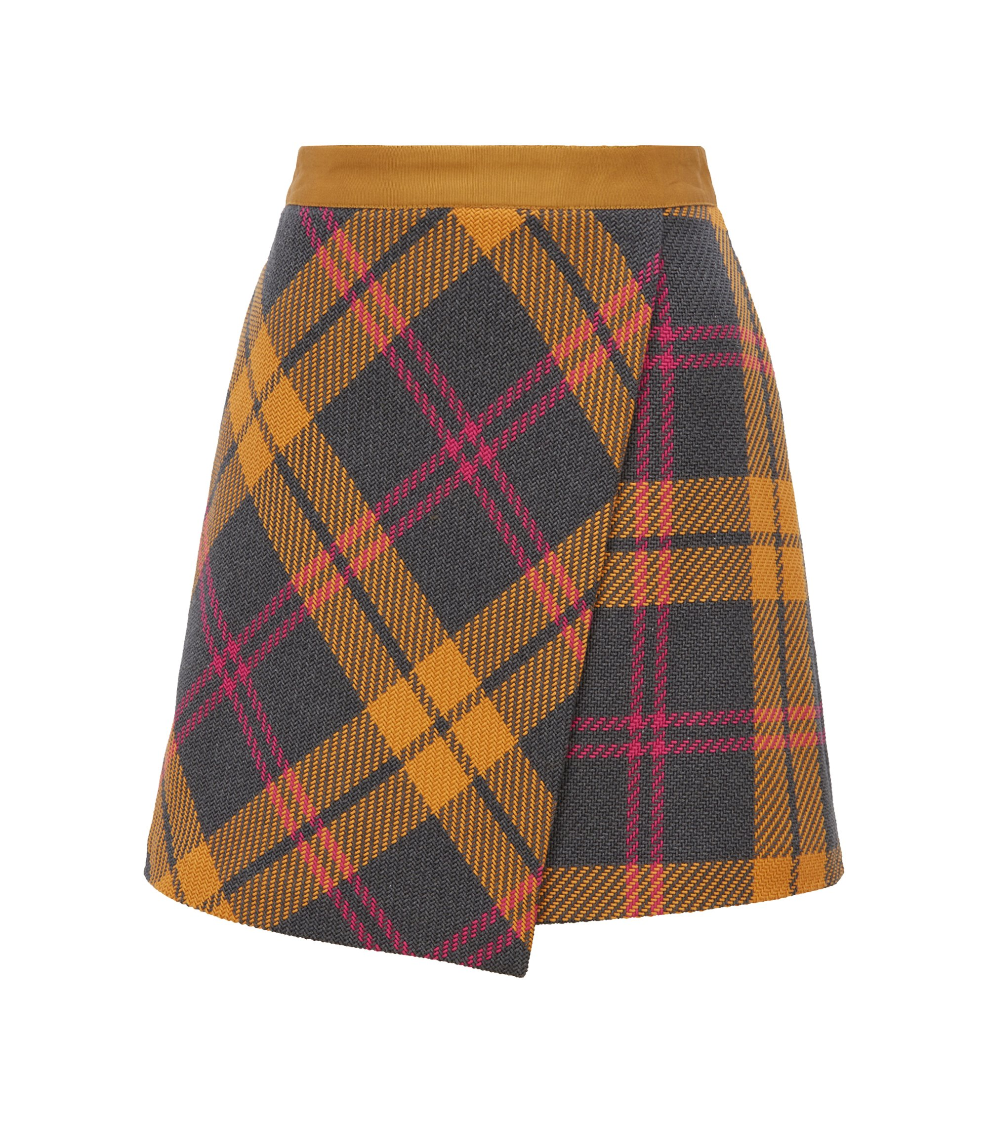 A-line wrap skirt in structured cotton with multicoloured check, Patterned