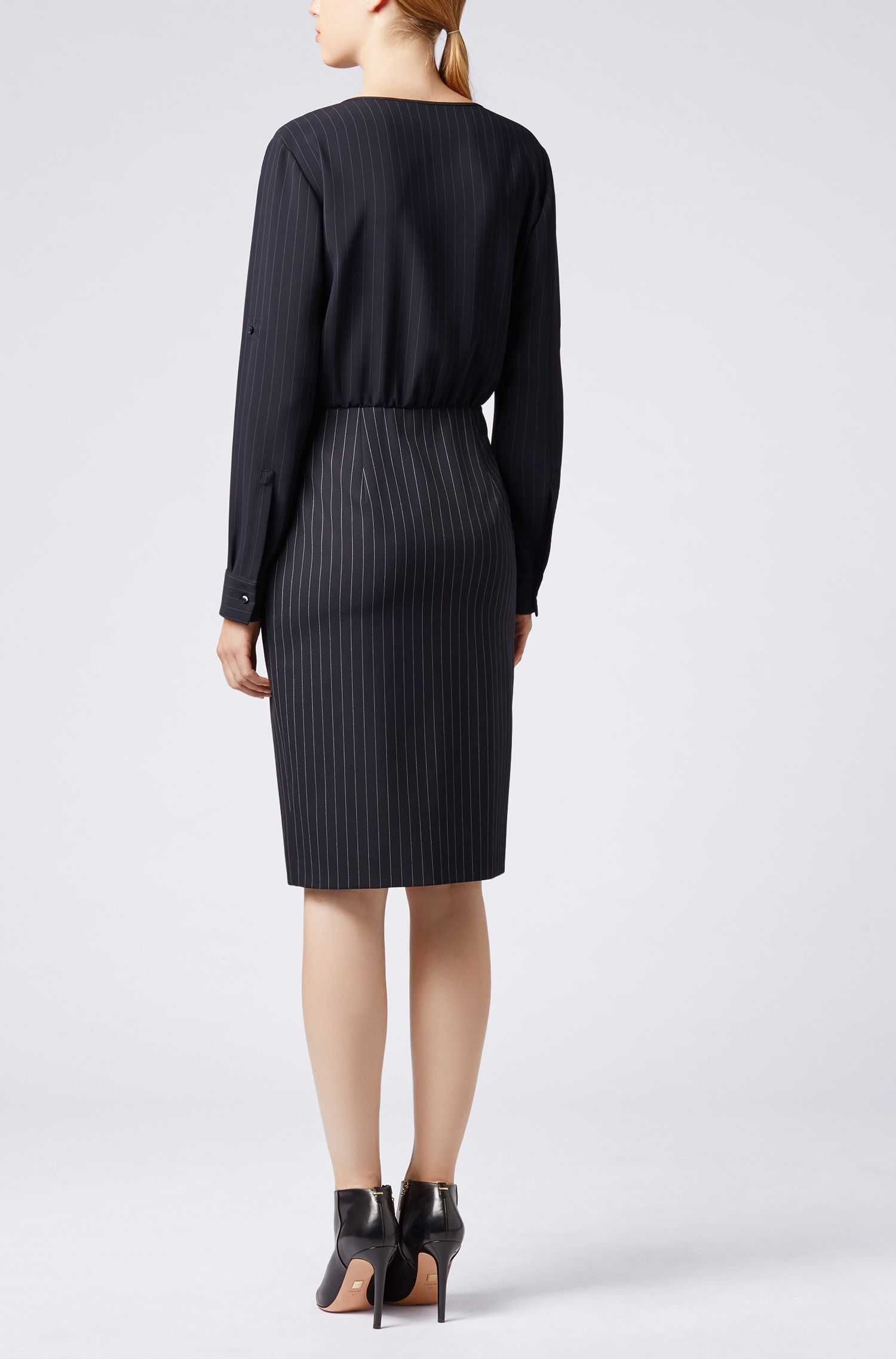 Pinstripe dress with blouse-style upper section