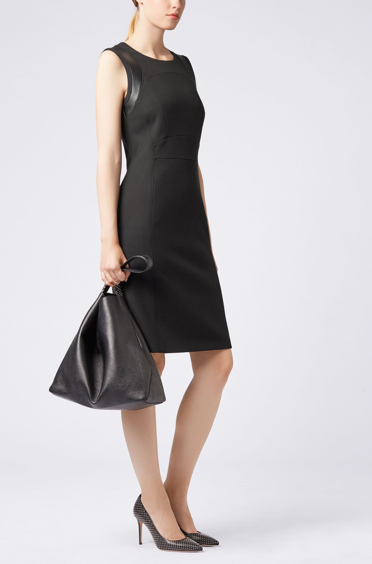 Shift dress in stretch crepe with faux-leather detail, Black