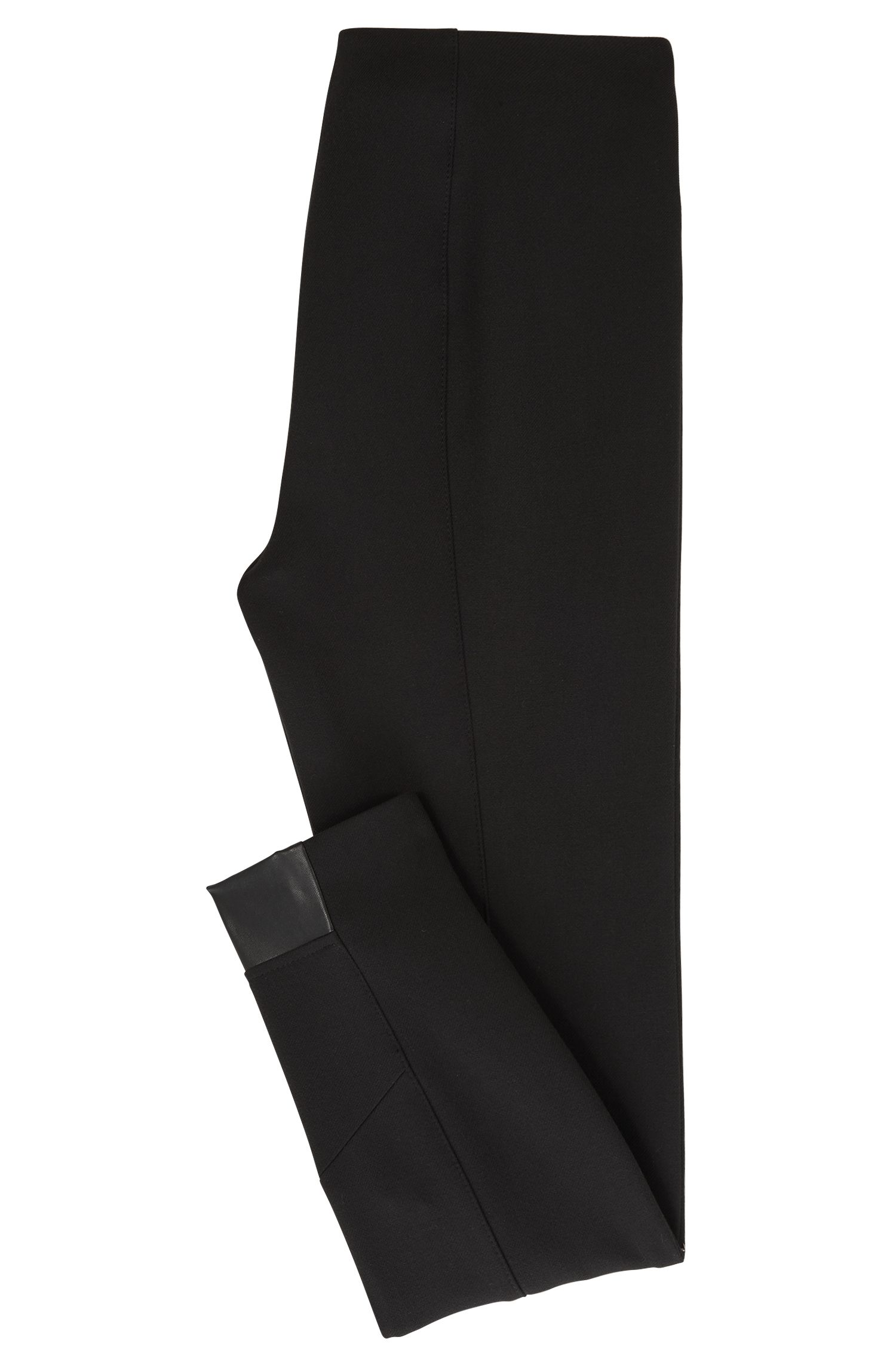 Pantalon Slim Fit en twill stretch à empiècements contrastants, Noir