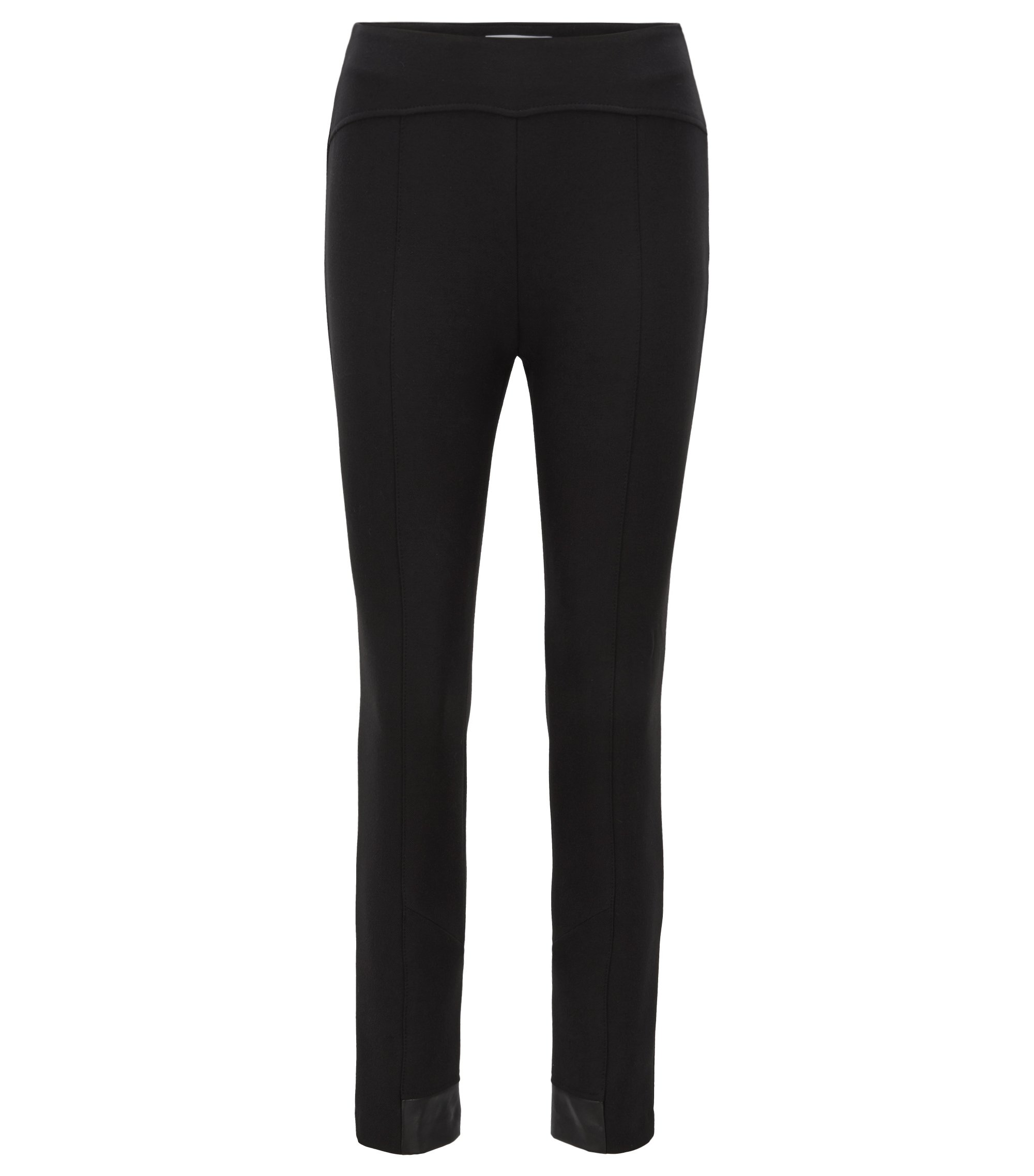 Slim-fit trousers in stretch twill with contrast inserts, Black