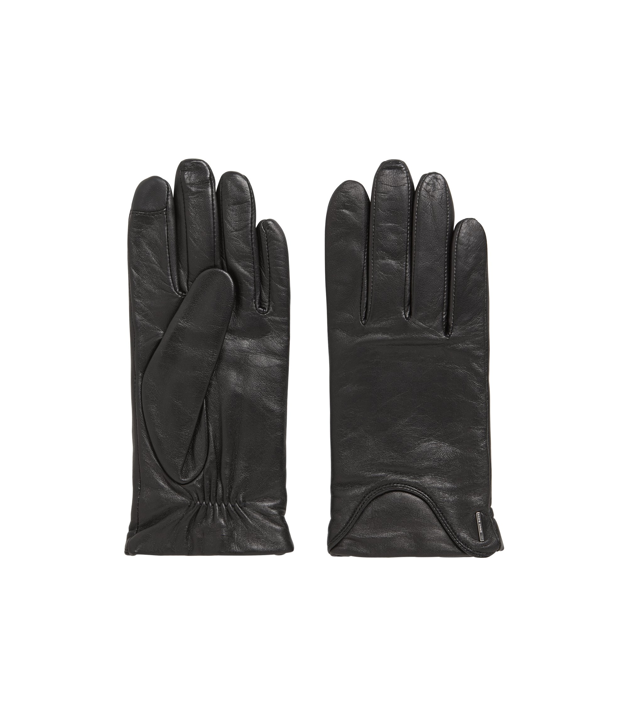 Touch-screen gloves in lambskin with wool-rich lining, Black