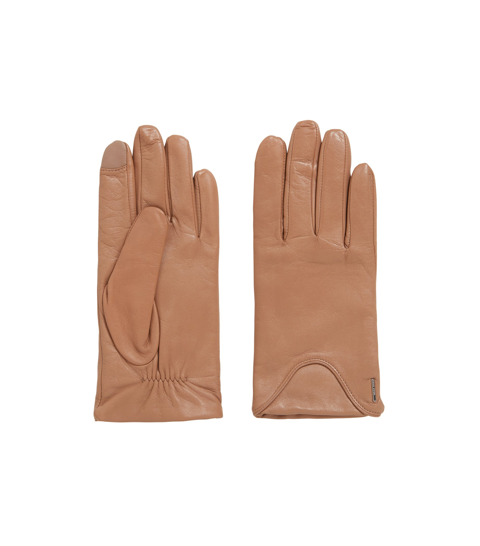 Touch-screen gloves in lambskin with wool-rich lining, Brown
