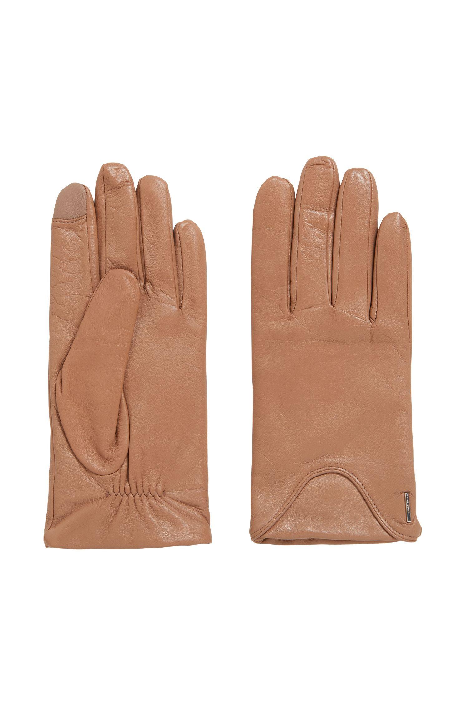 Touchscreenhandschoenen van lamsleer met voering met grote wolcomponent, Bruin