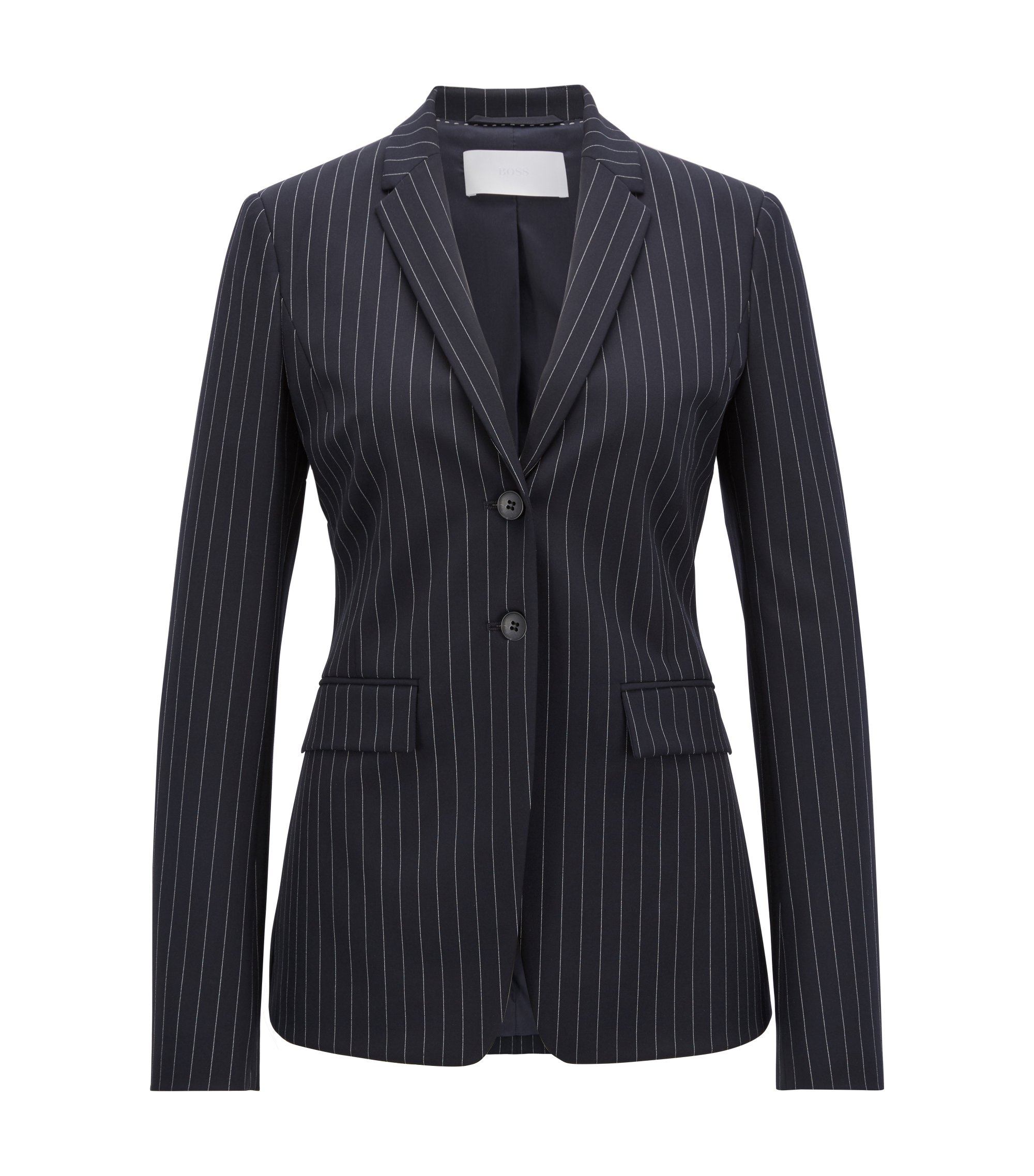 Blazer Regular Fit en tissu stretch à rayures tennis, Fantaisie