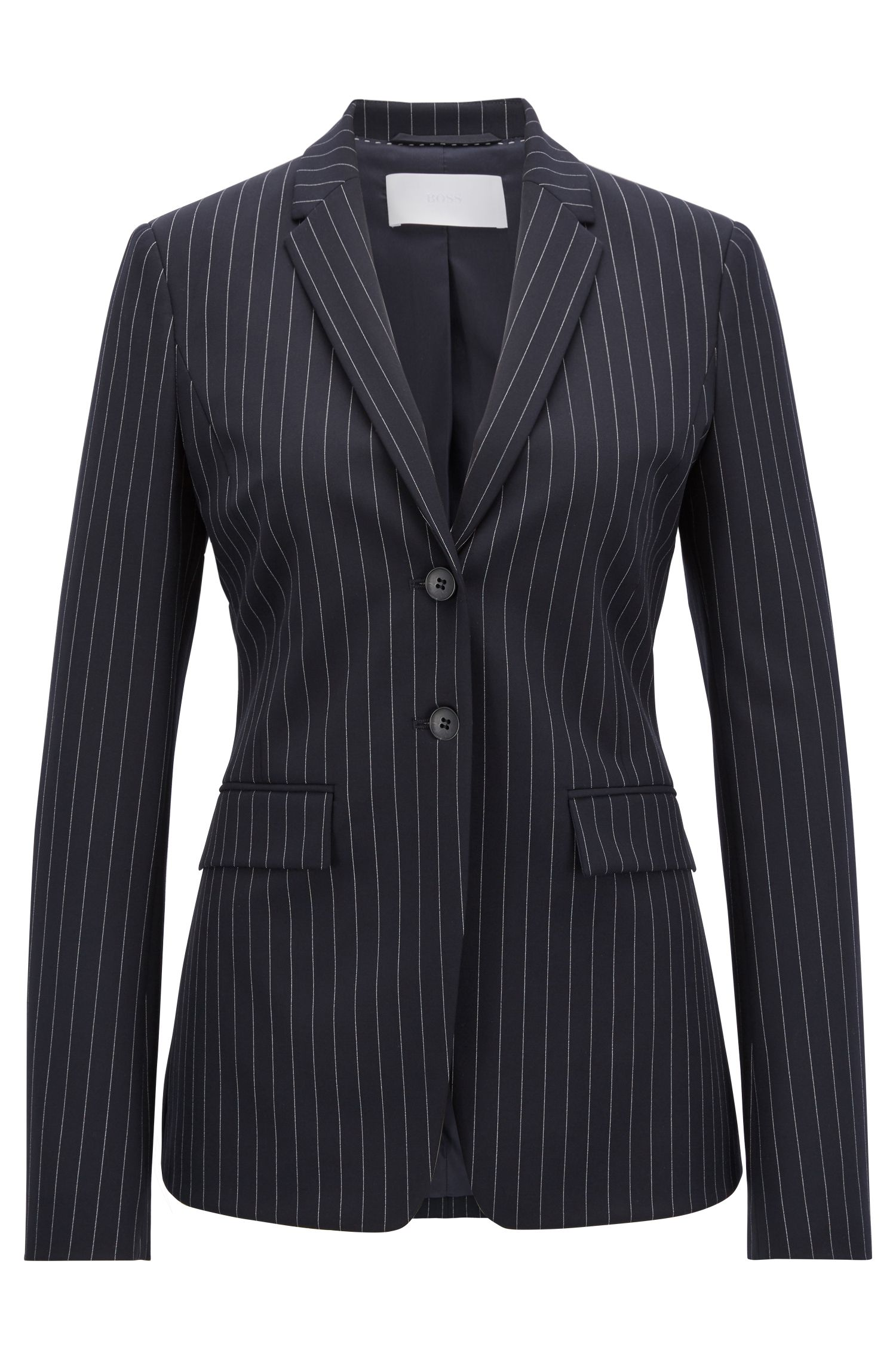 Regular-fit blazer in pinstripe stretch fabric, Patterned