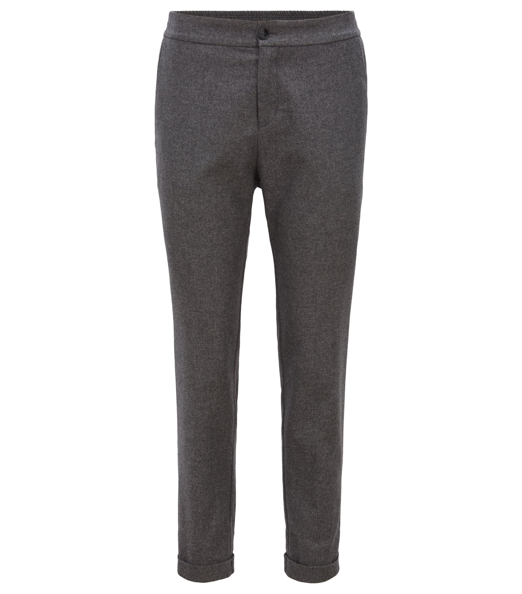 Regular-fit wool-blend trousers with rolled-up hems, Anthracite