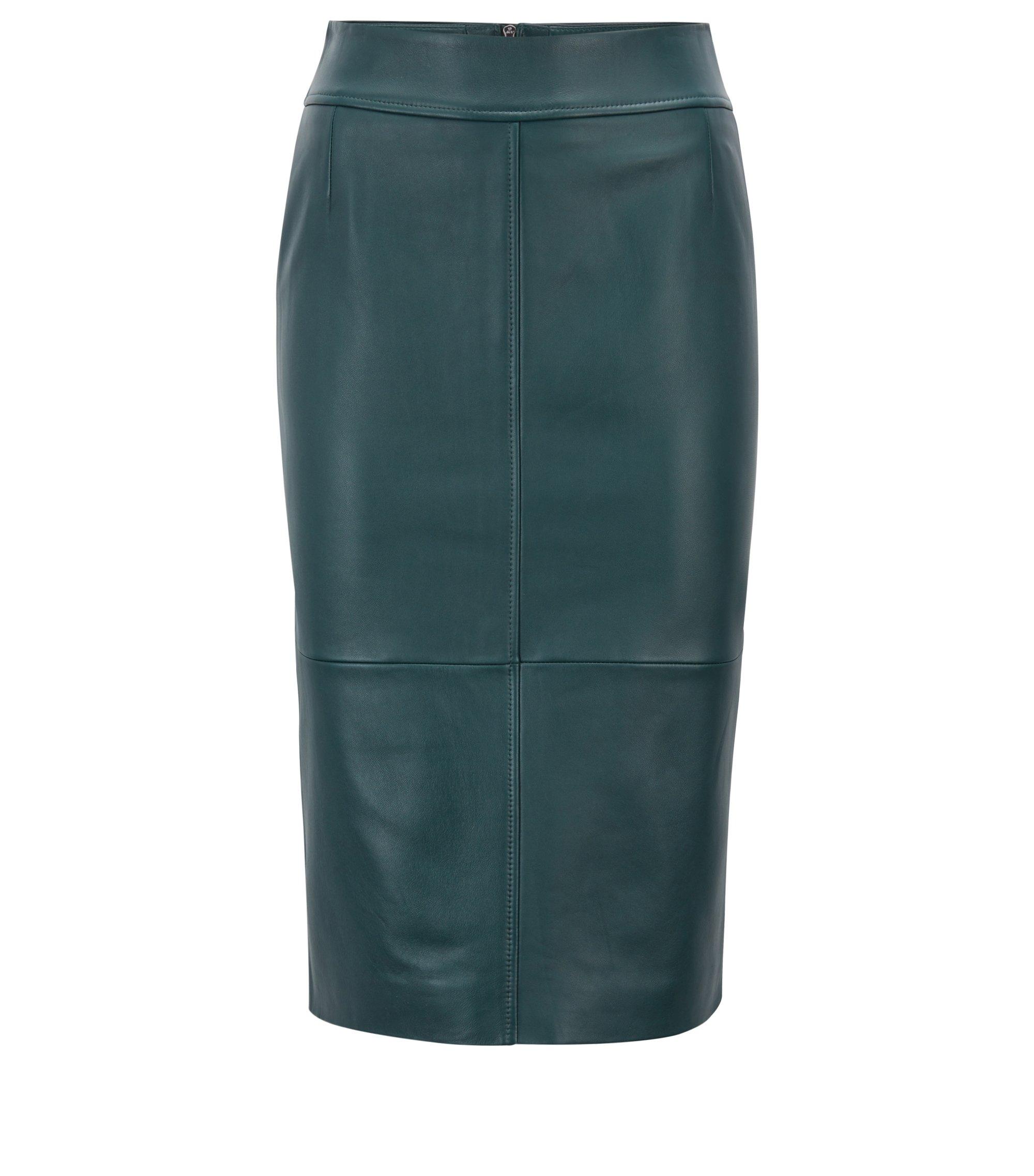 Falda lápiz en piel de cordero con paneles, Verde