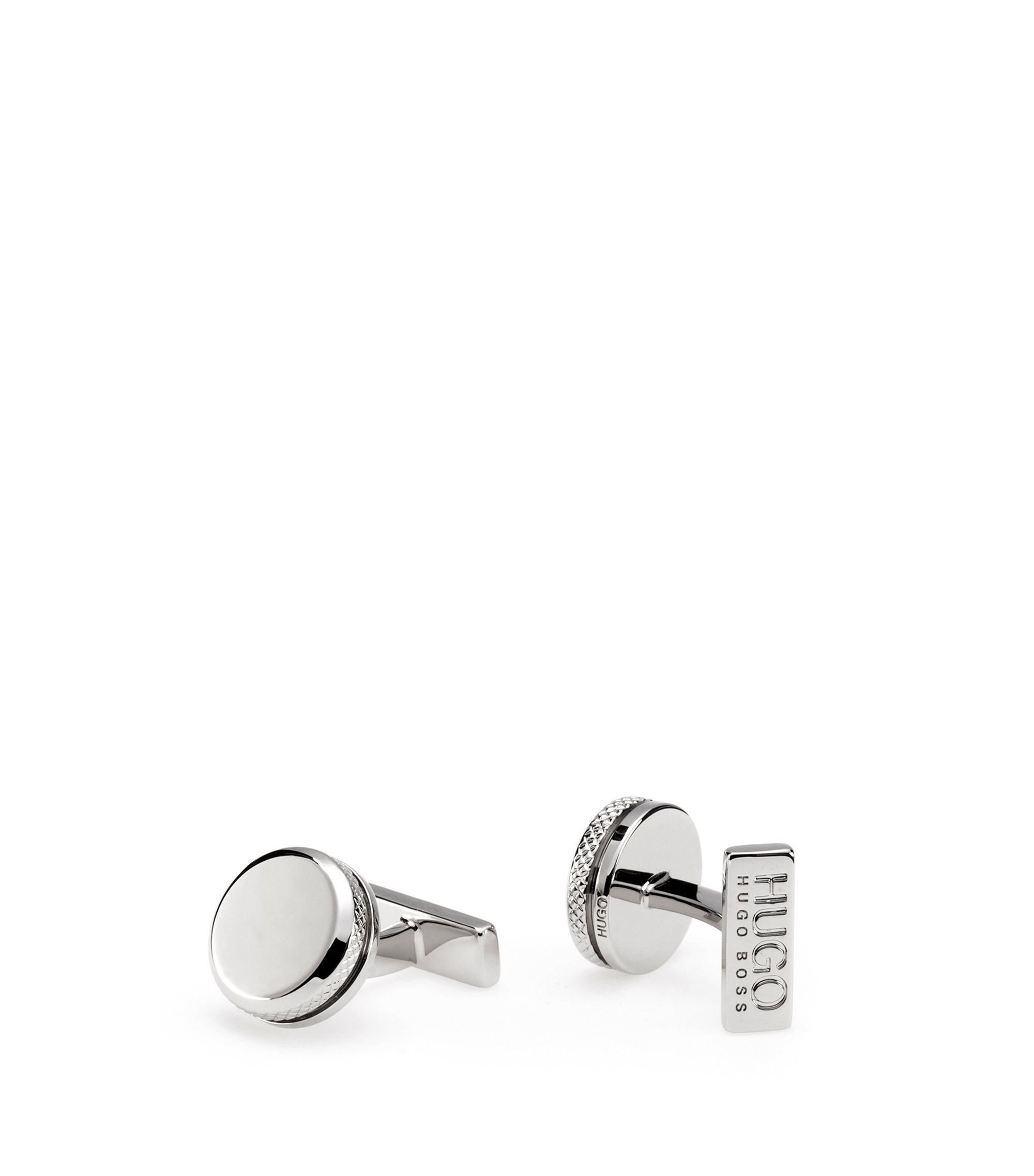 Round silver-effect cufflinks in brass with engraved edging, Silver
