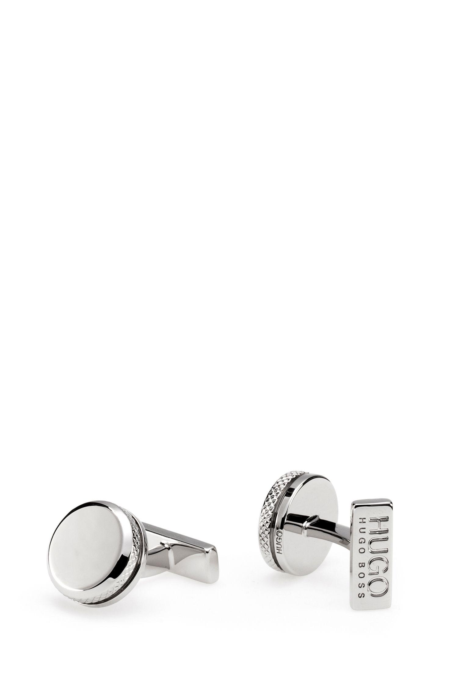 Runde Manschettenknöpfe aus Messing in Silber-Optik mit graviertem Rand, Silber