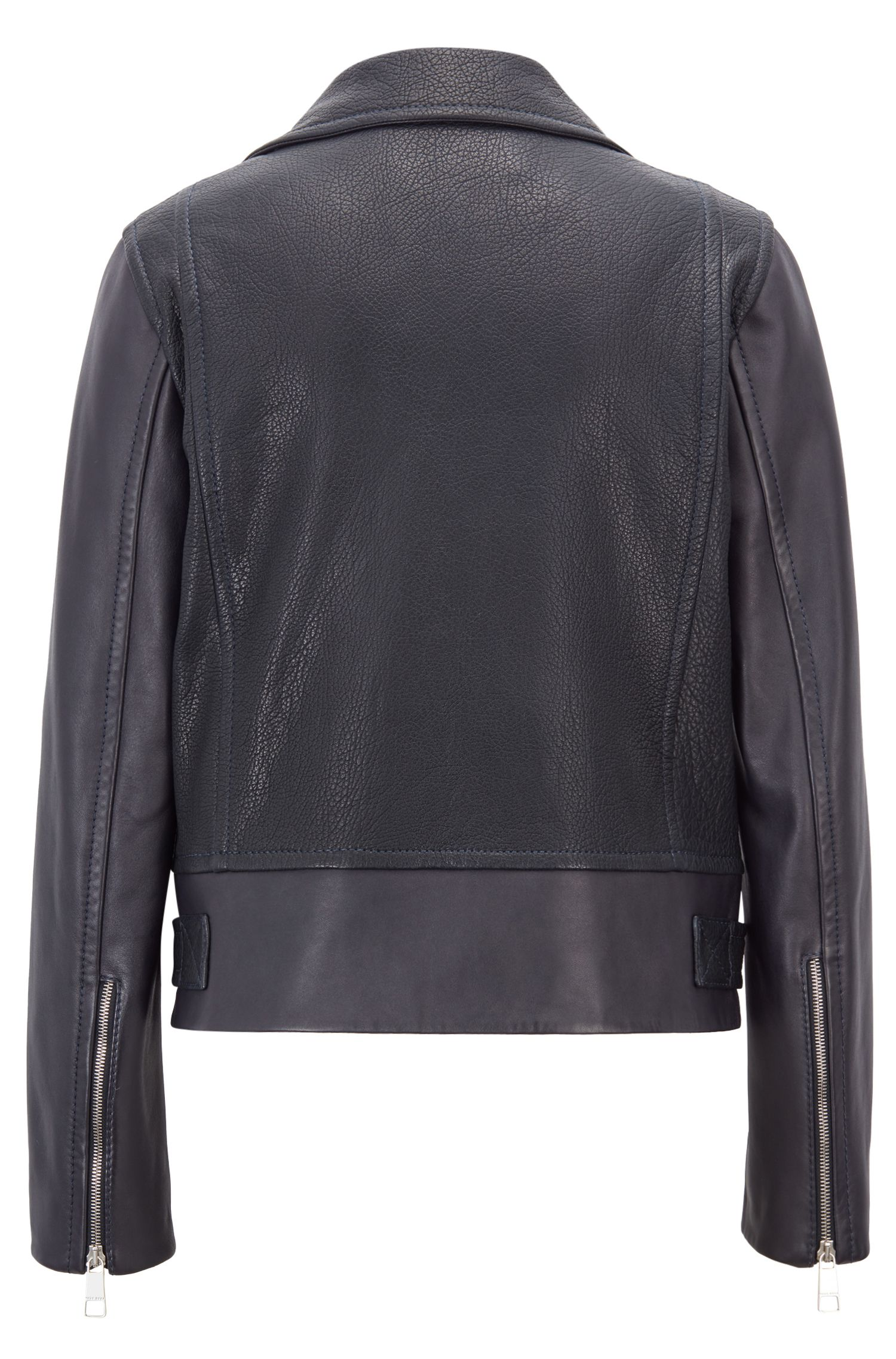 Belted biker jacket in lambskin with exposed zips, Dark Blue