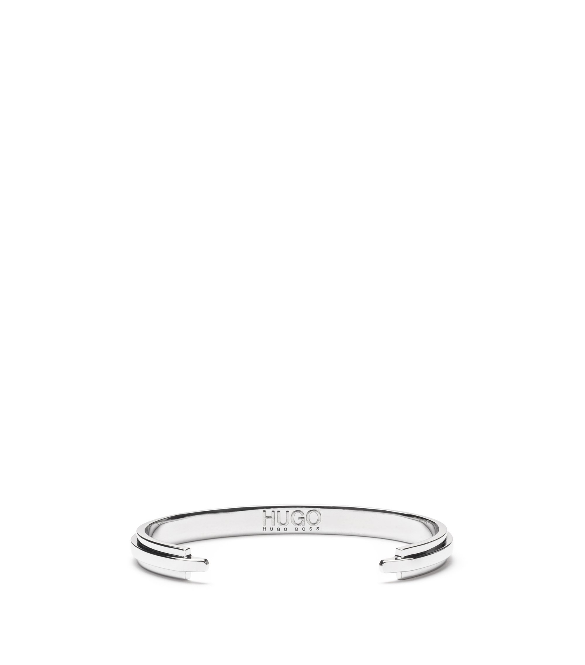 Modern polished metal bangle with engraved logo, Silver