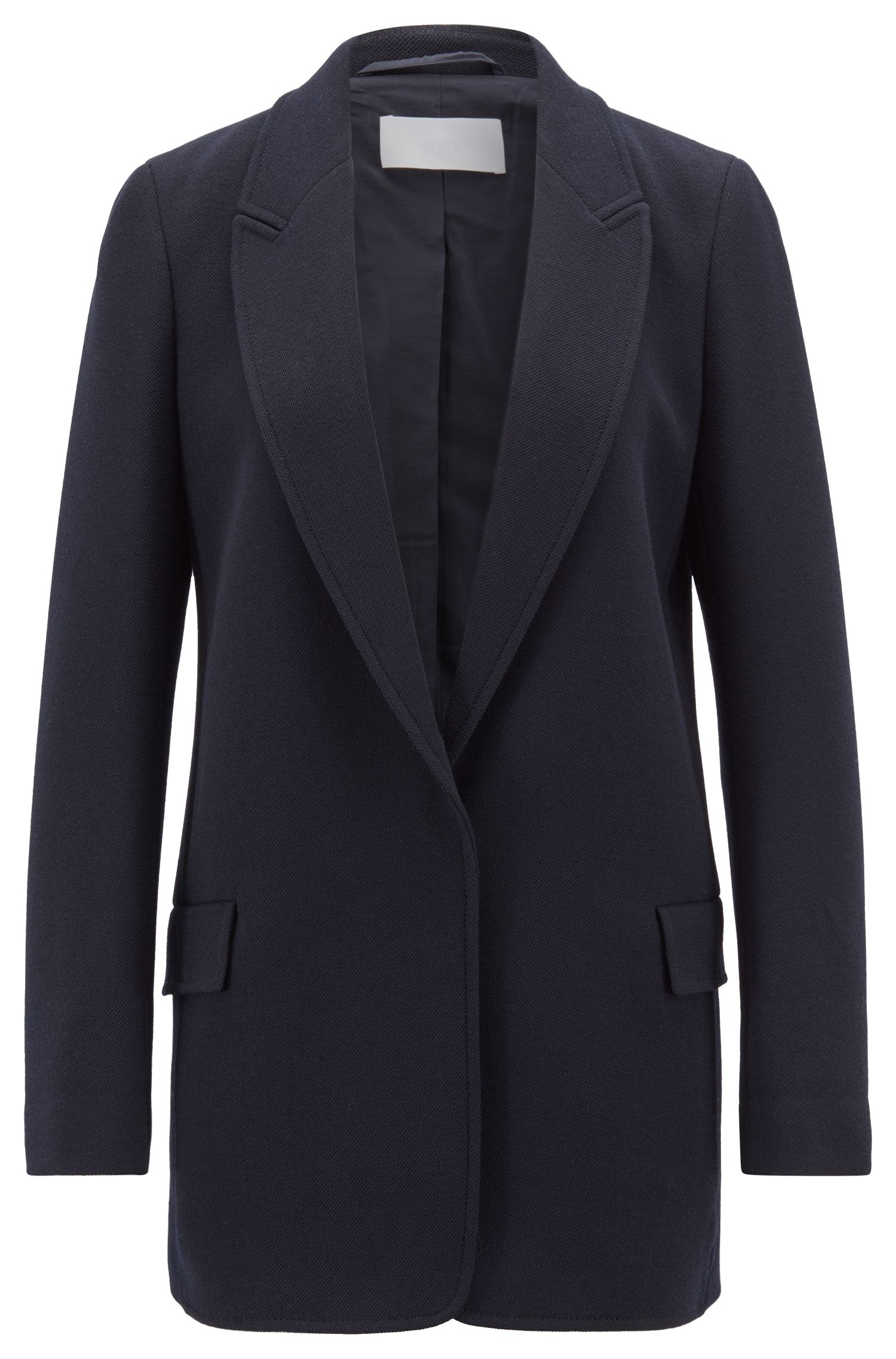 Boyfriend-fit long-line blazer in stretch crinkle crepe, Dark Blue