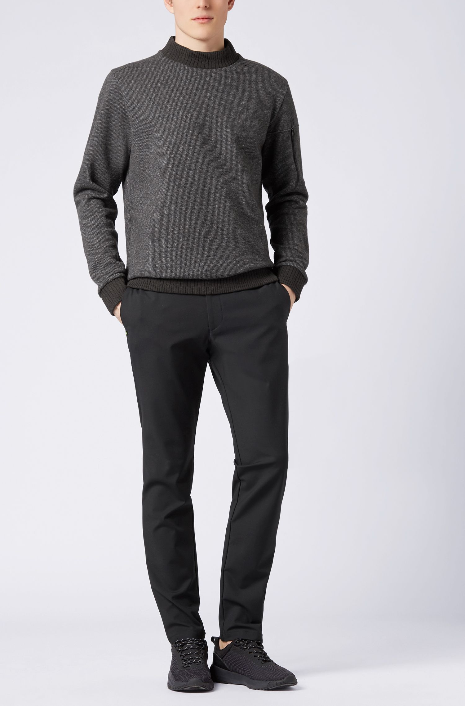Turtleneck sweater in double-faced cotton-blend fleece, Black