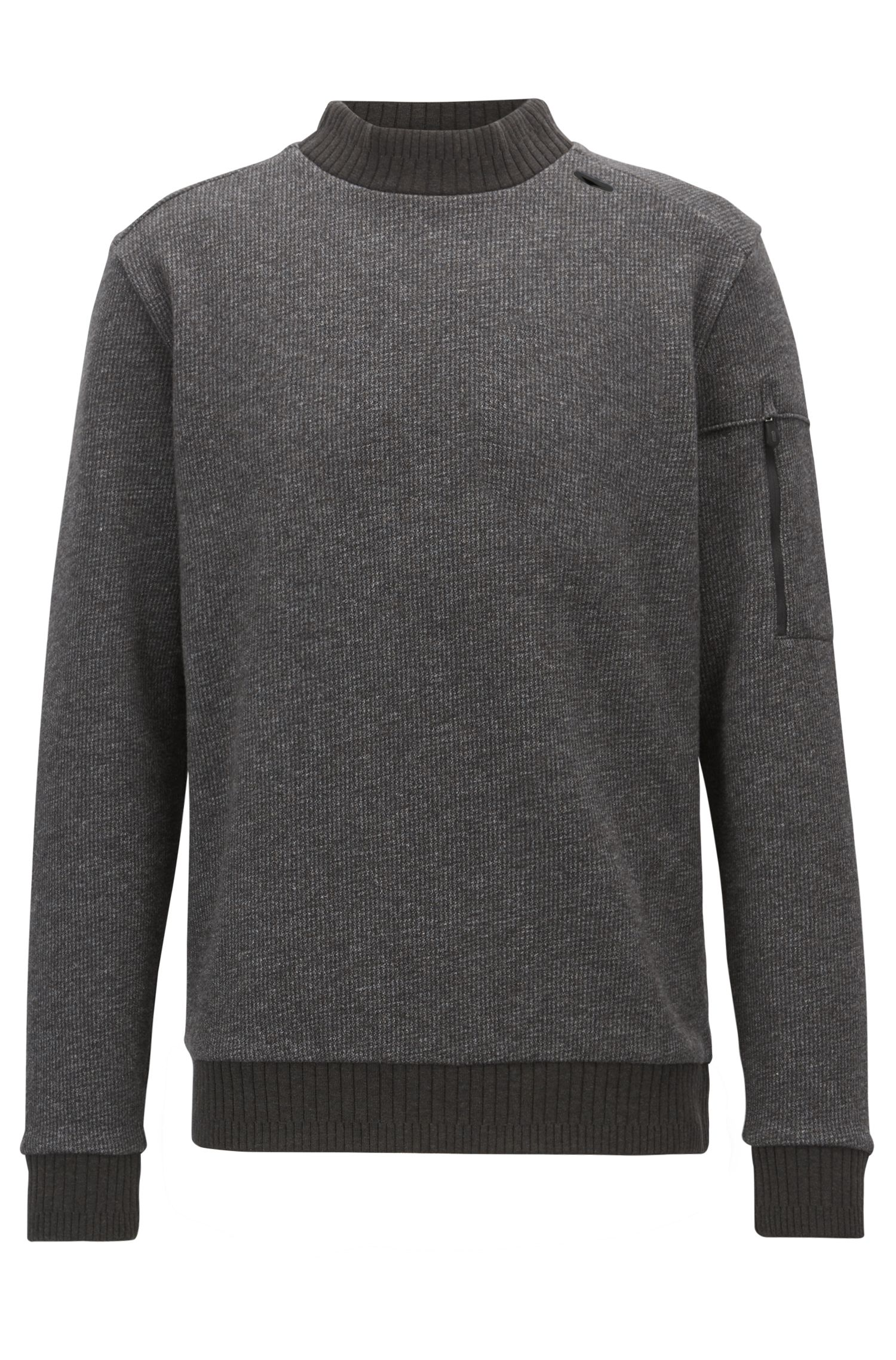 Turtleneck sweater in double-faced cotton-blend fleece
