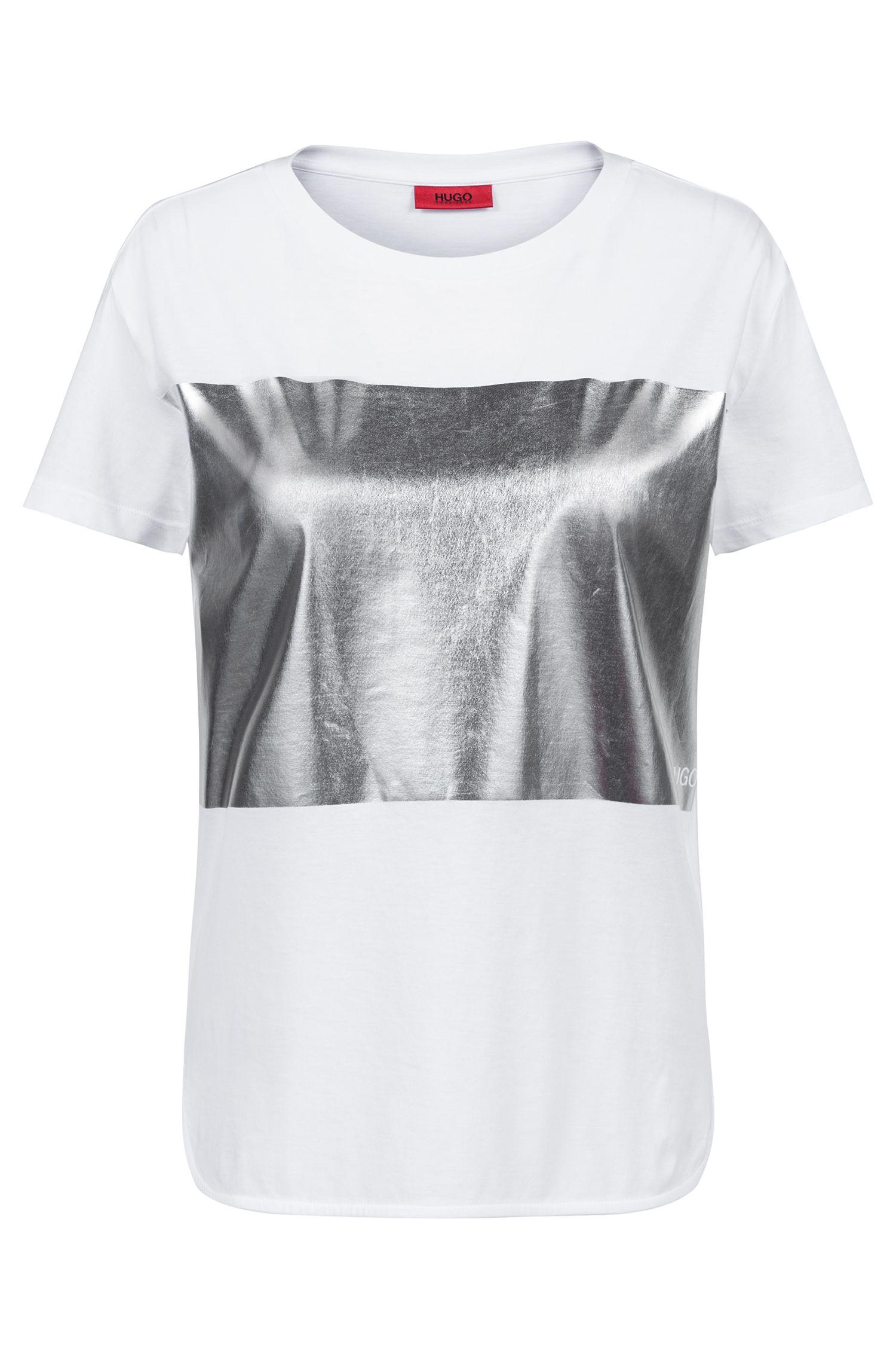 Camiseta de punto relaxed fit con estampado en bloque plateado, Blanco