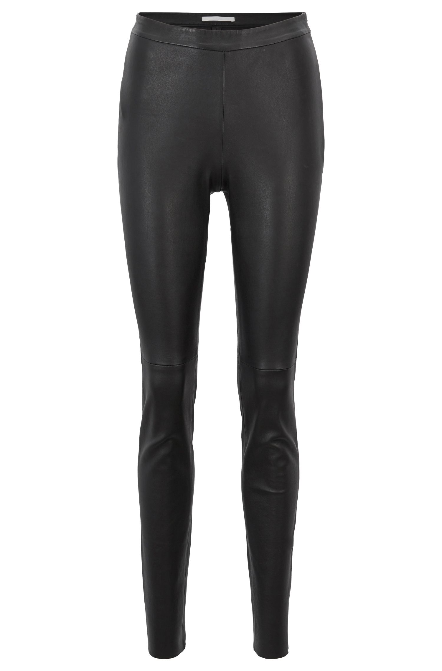 Skinny-fit trousers in stretch lambskin with side zip, Black