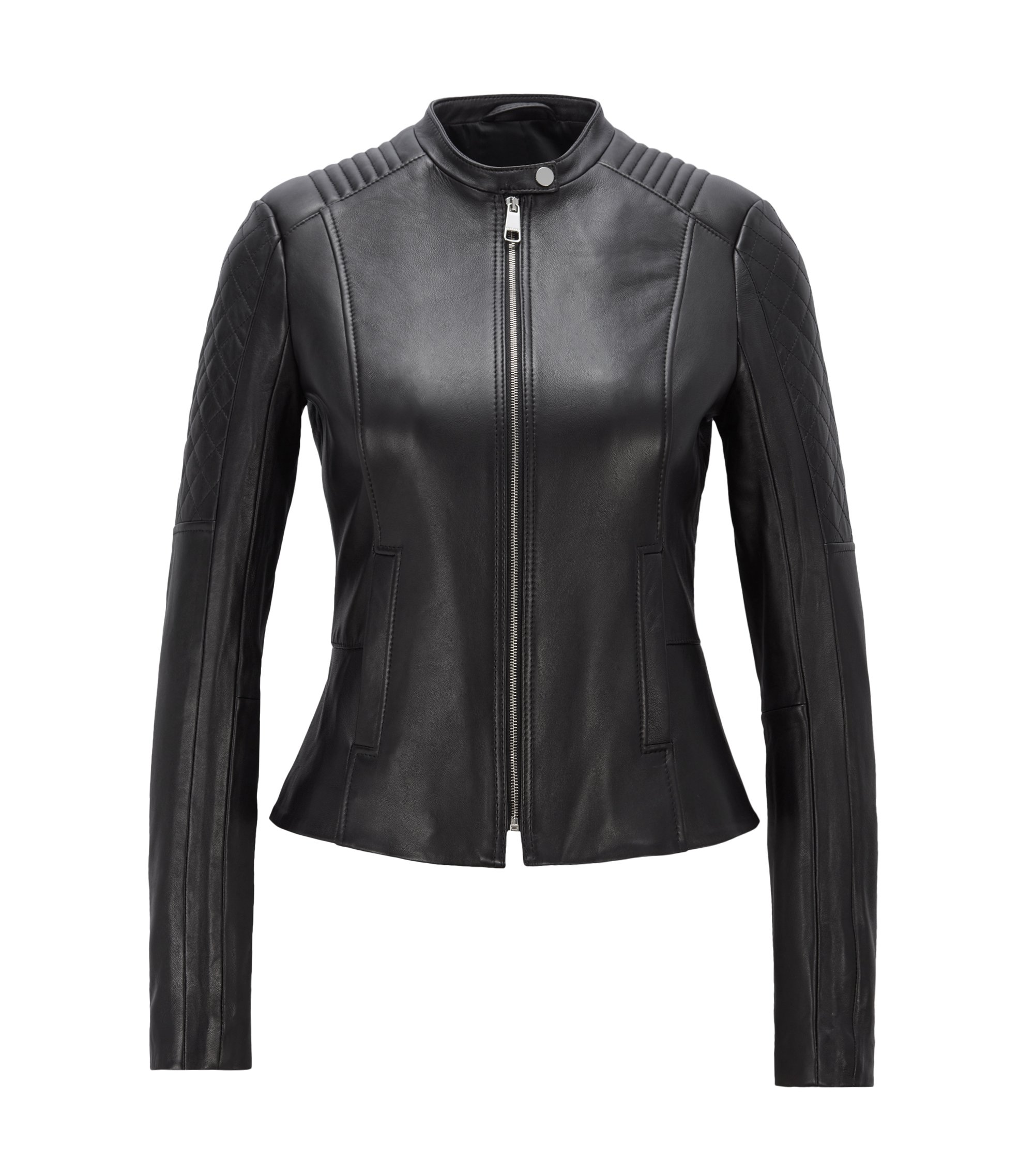 Slim-fit biker jacket in lambskin with peplum waist, Black