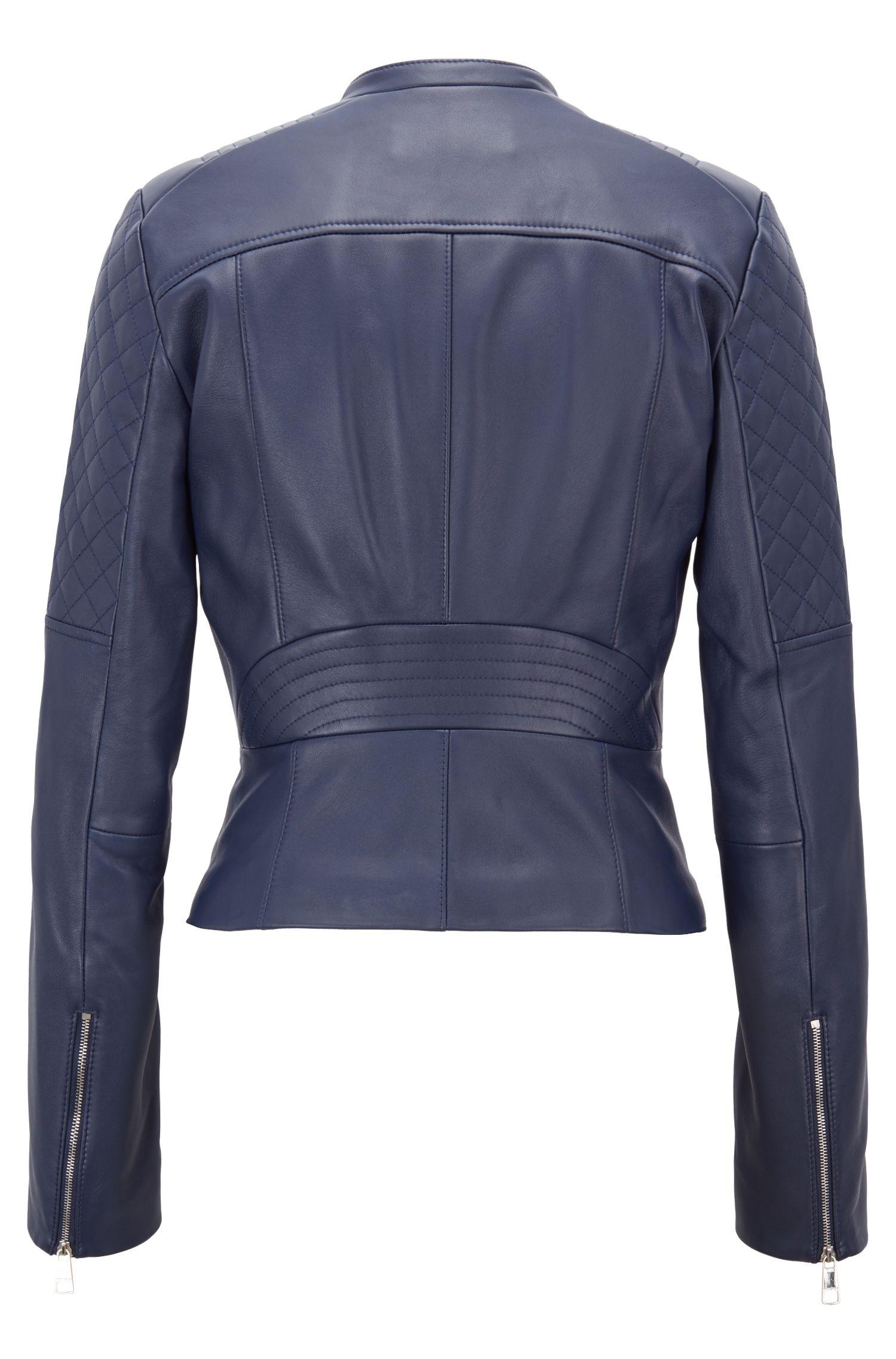 Slim-Fit Bikerjacke aus Leder mit Schößchen, Blau