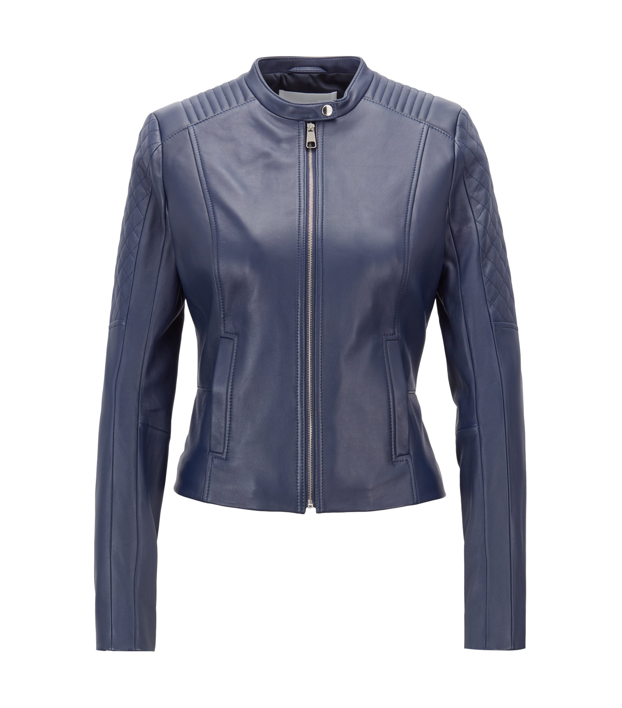 Slim-fit biker jacket in lambskin with peplum waist, Blue