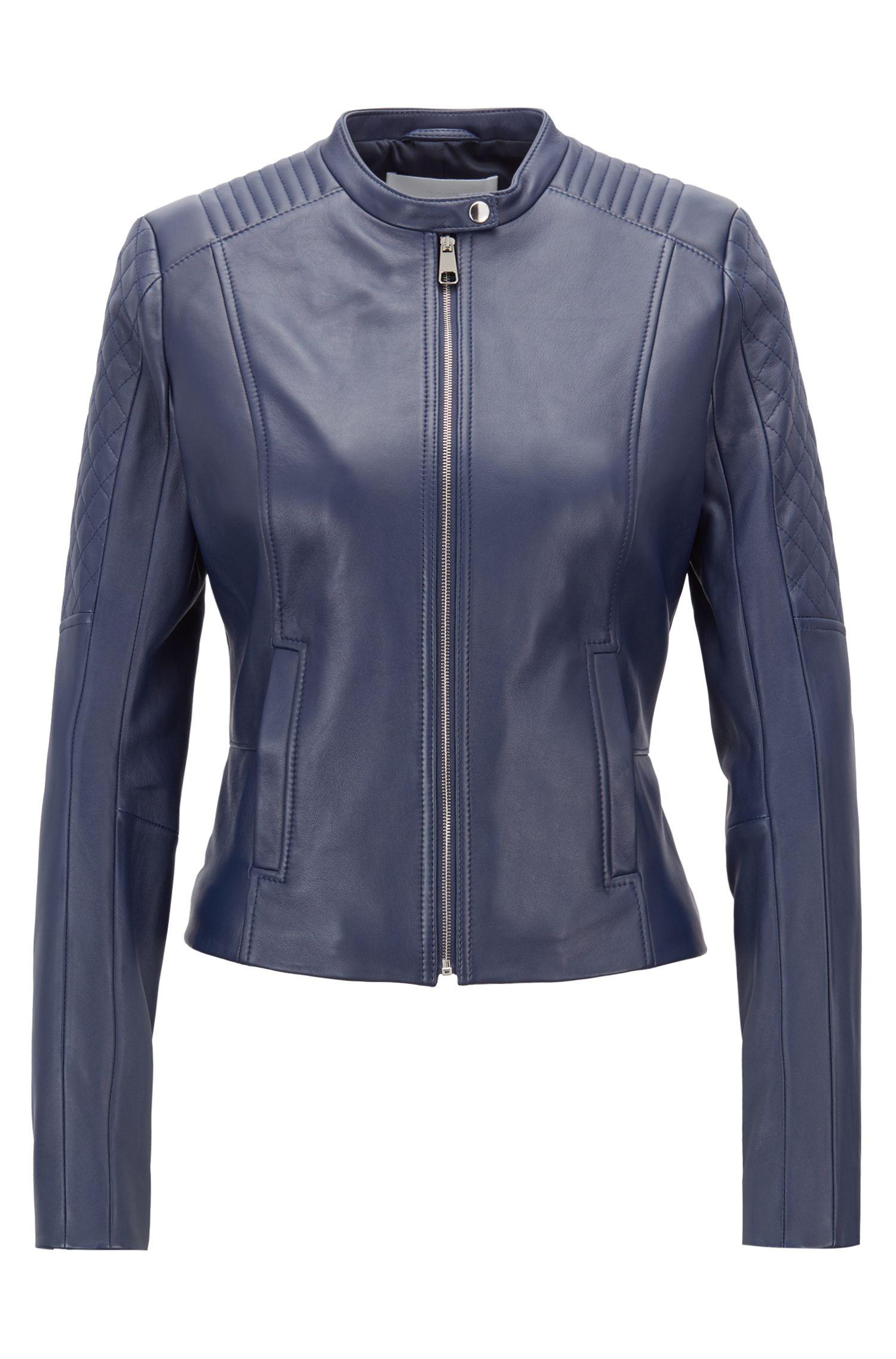 Slim-fit biker jacket in lambskin with peplum waist, Blue
