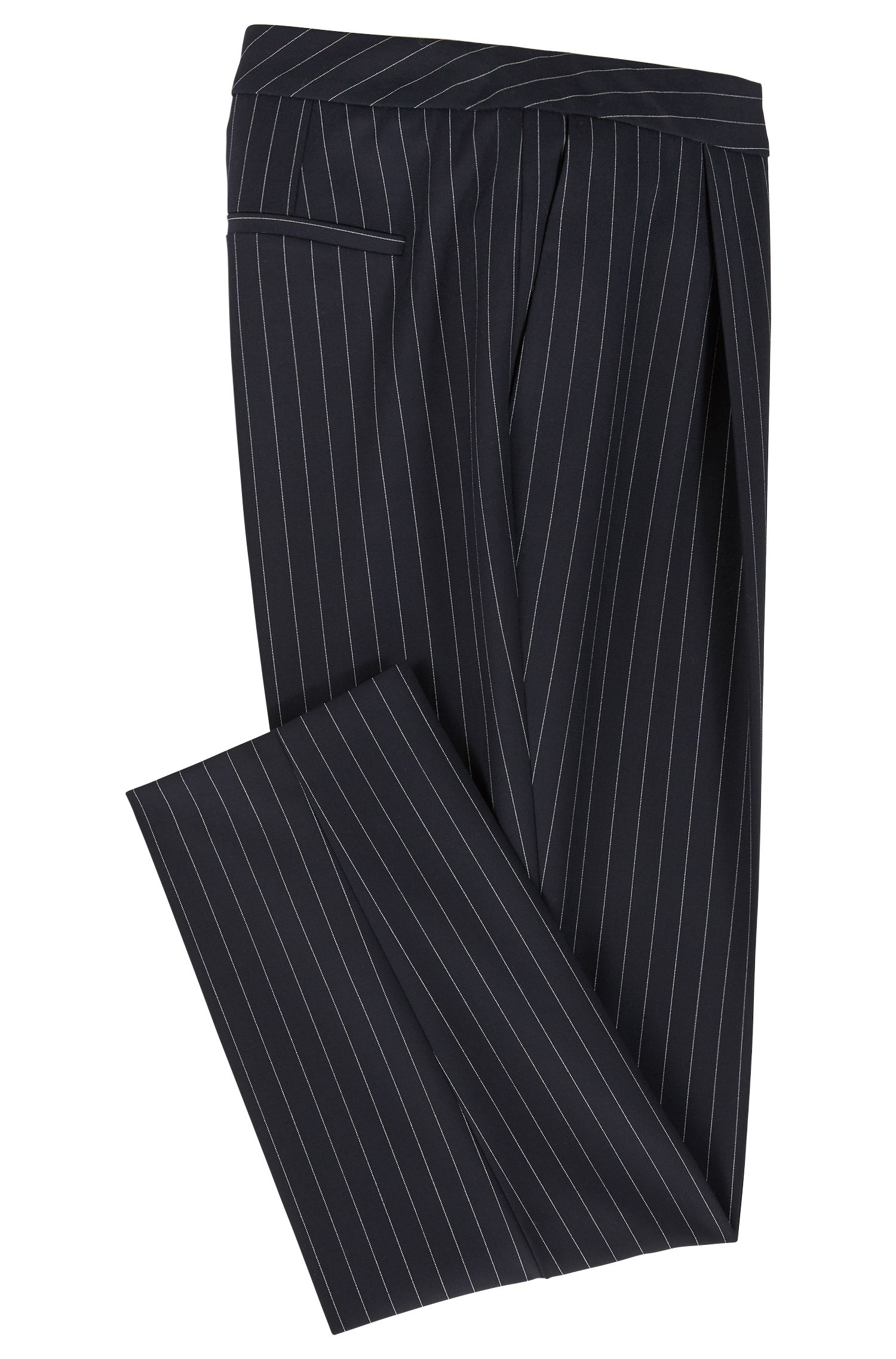 Pantalon raccourci Regular Fit en tissu stretch à rayures tennis, Fantaisie