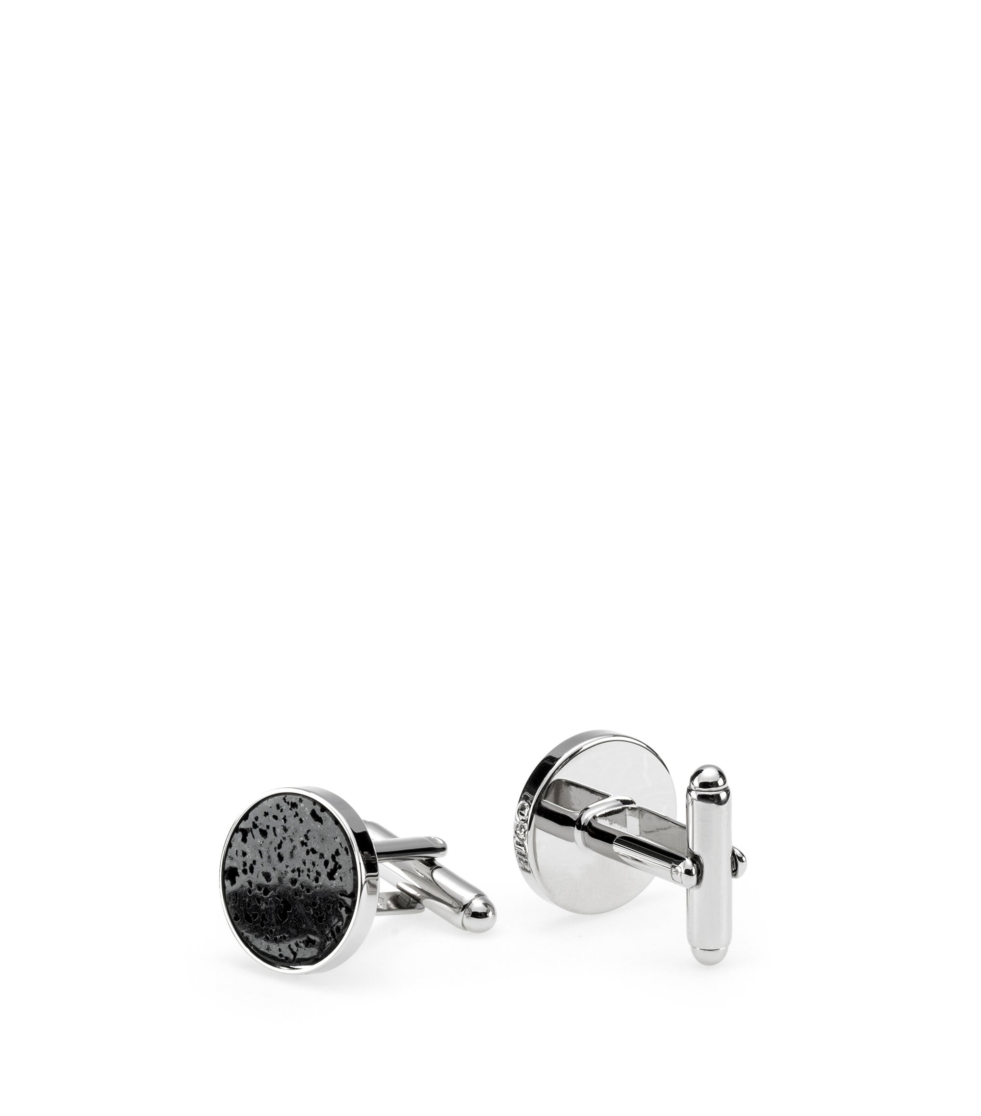 Round cufflinks with mottled stone insert, Silver