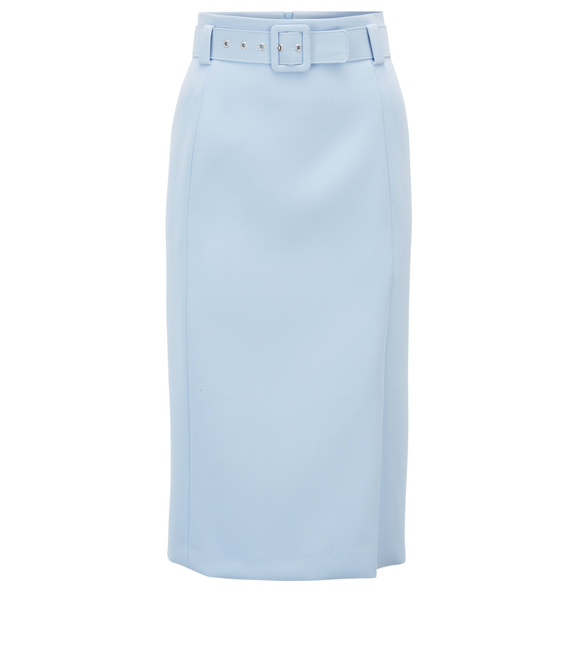 High-waisted pencil skirt in micro fabric with belt, Light Blue