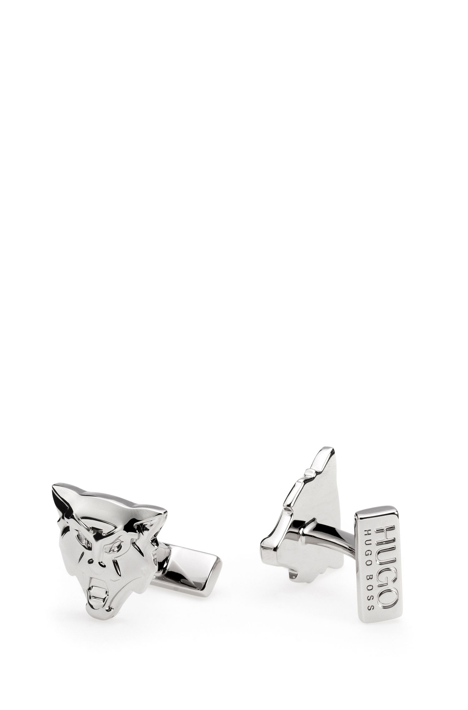 Wolf cufflinks in polished silver-effect brass