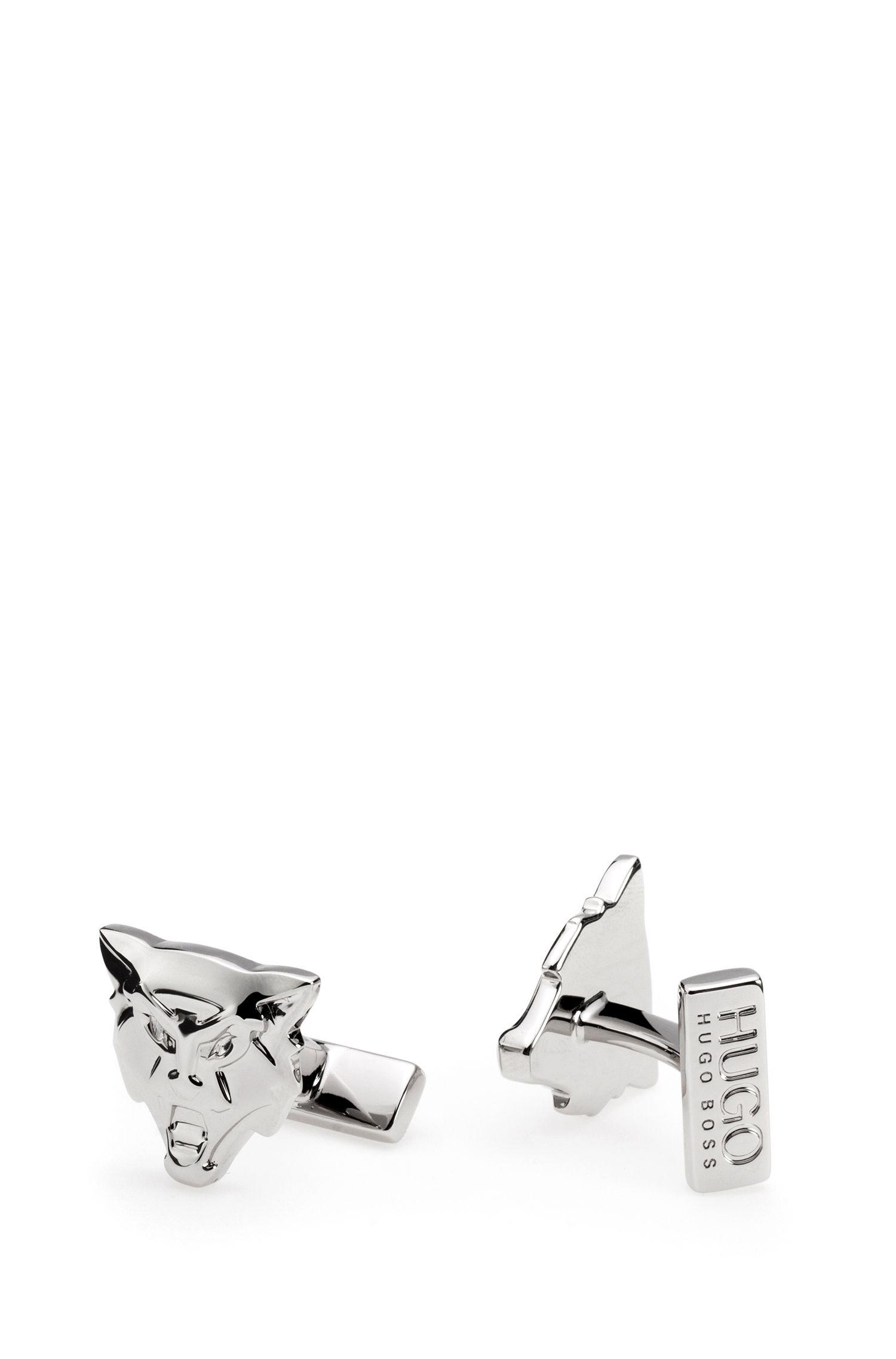 Gemelli con lupo in ottone lucido effetto argento, Argento