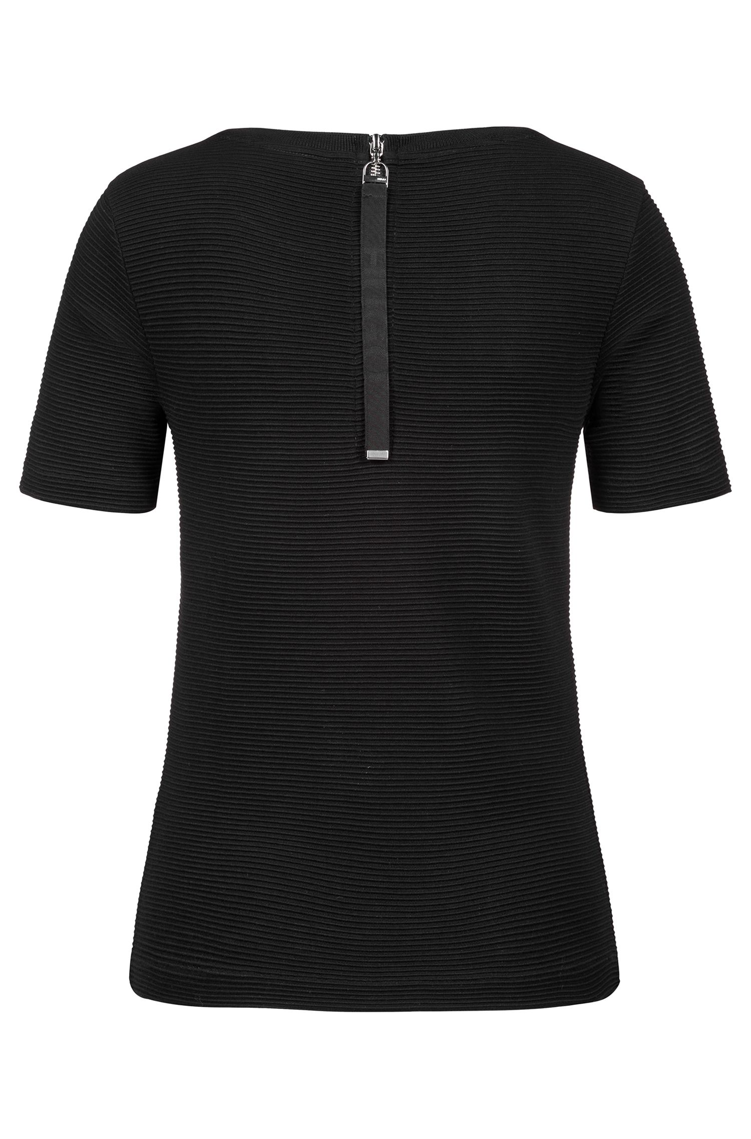 Slim-fit T-shirt in ottoman jersey with statement zip, Black