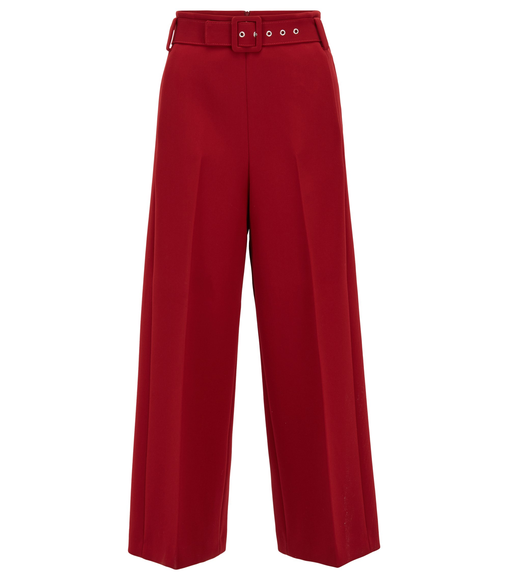 Cropped wide-leg trousers in bonded micro fabric, Dark Red