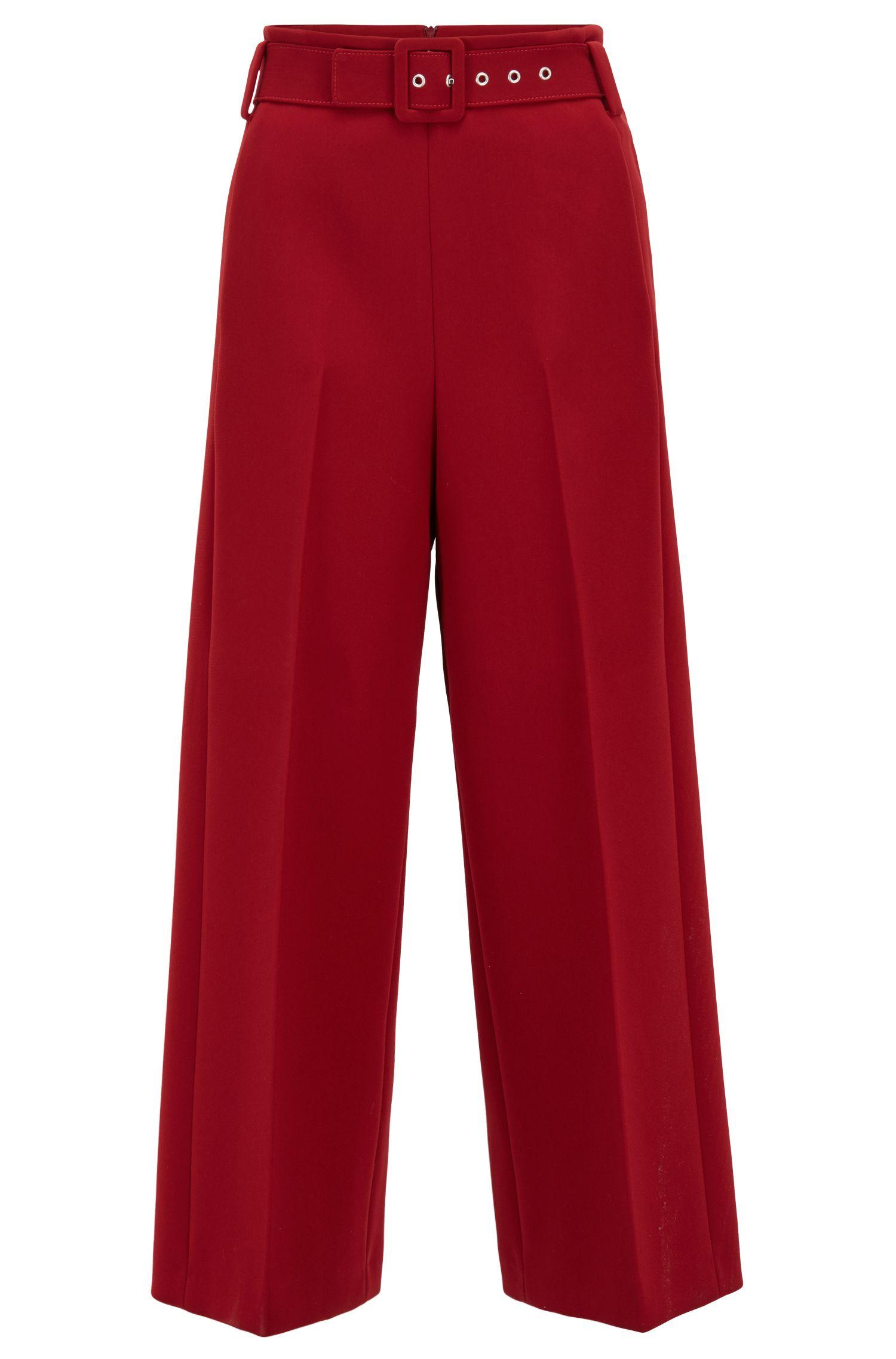 Iets kortere broek met wijde pijpen, van gebonden micromateriaal, Donkerrood