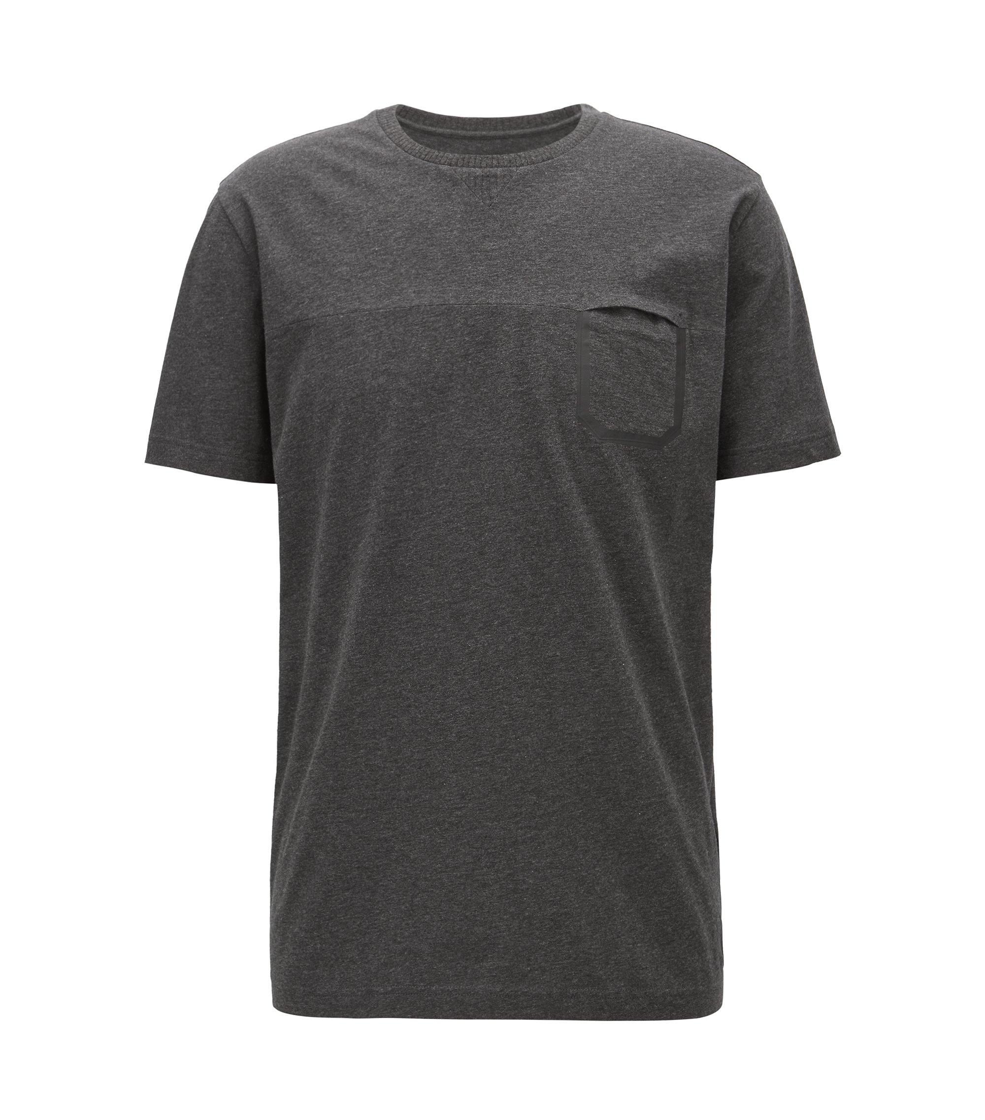 T-shirt en coton chiné avec poche, Noir