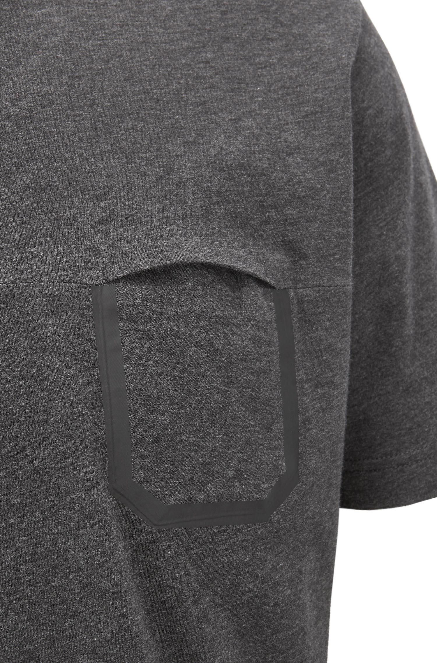 Melange cotton T-shirt with pocket detail, Black