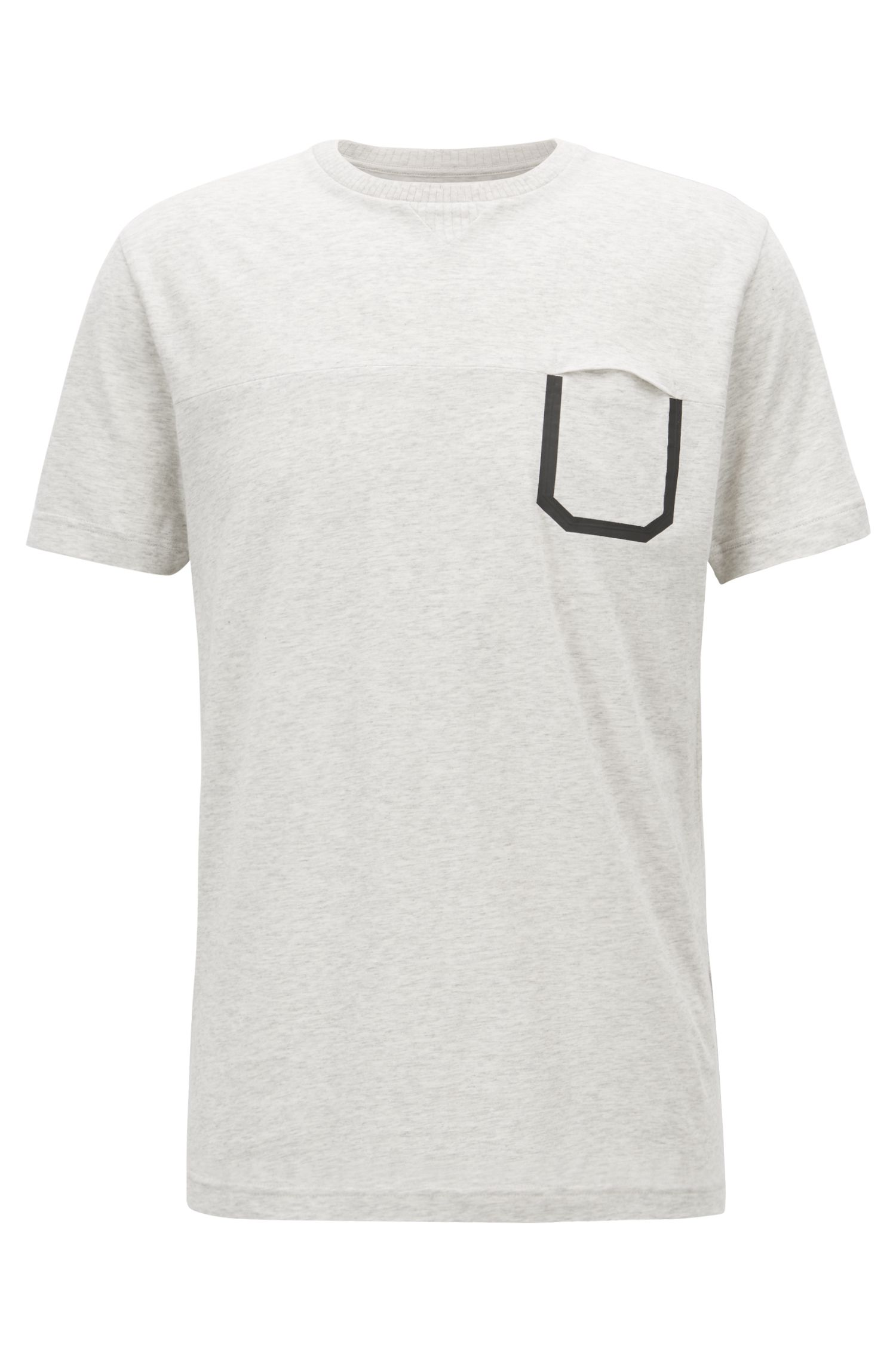 Melange cotton T-shirt with pocket detail, Natural
