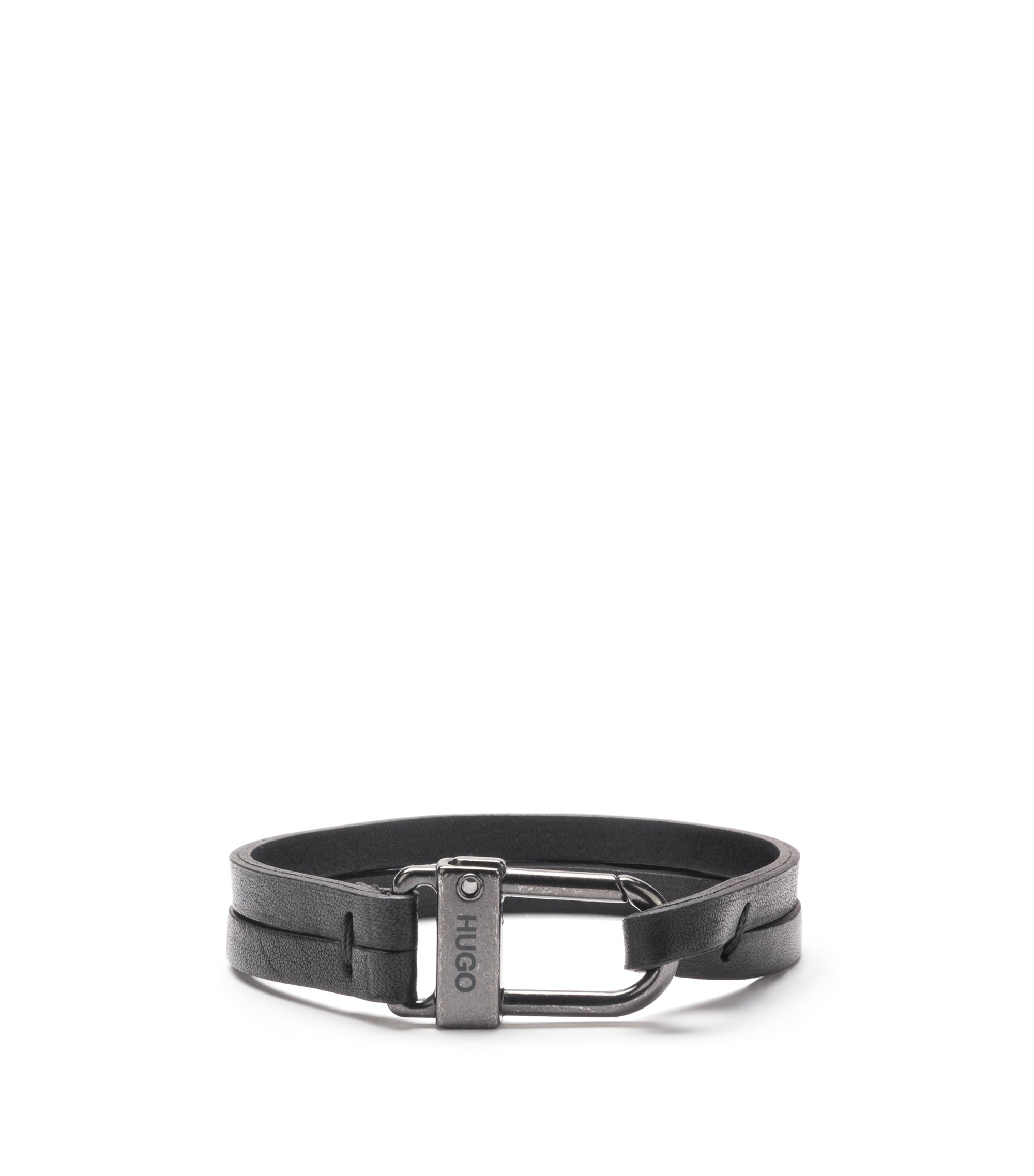 Italian-leather bracelet with carabiner closure, Black